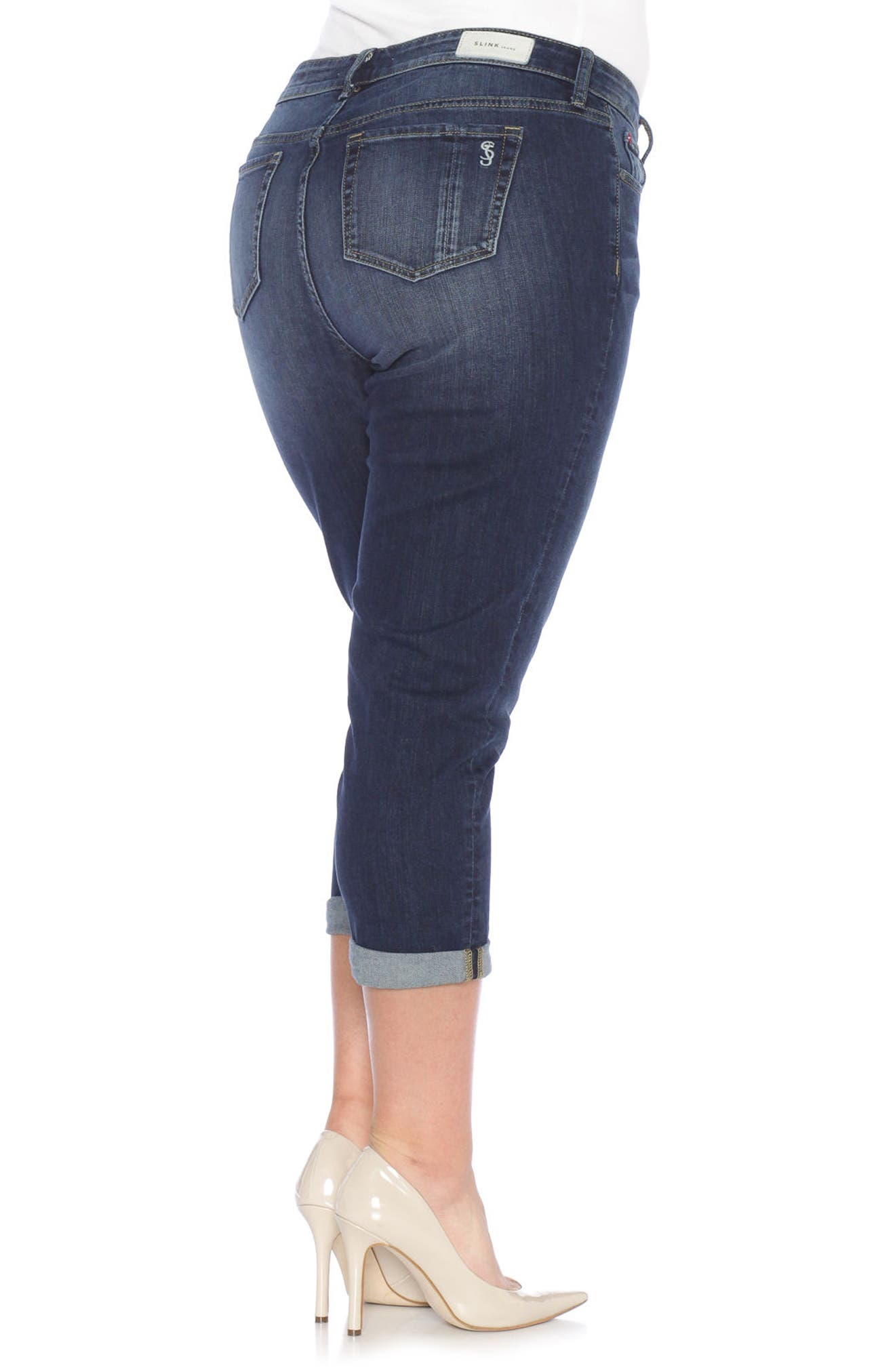 Rolled Crop Boyfriend Jeans,                             Alternate thumbnail 3, color,                             Kelly