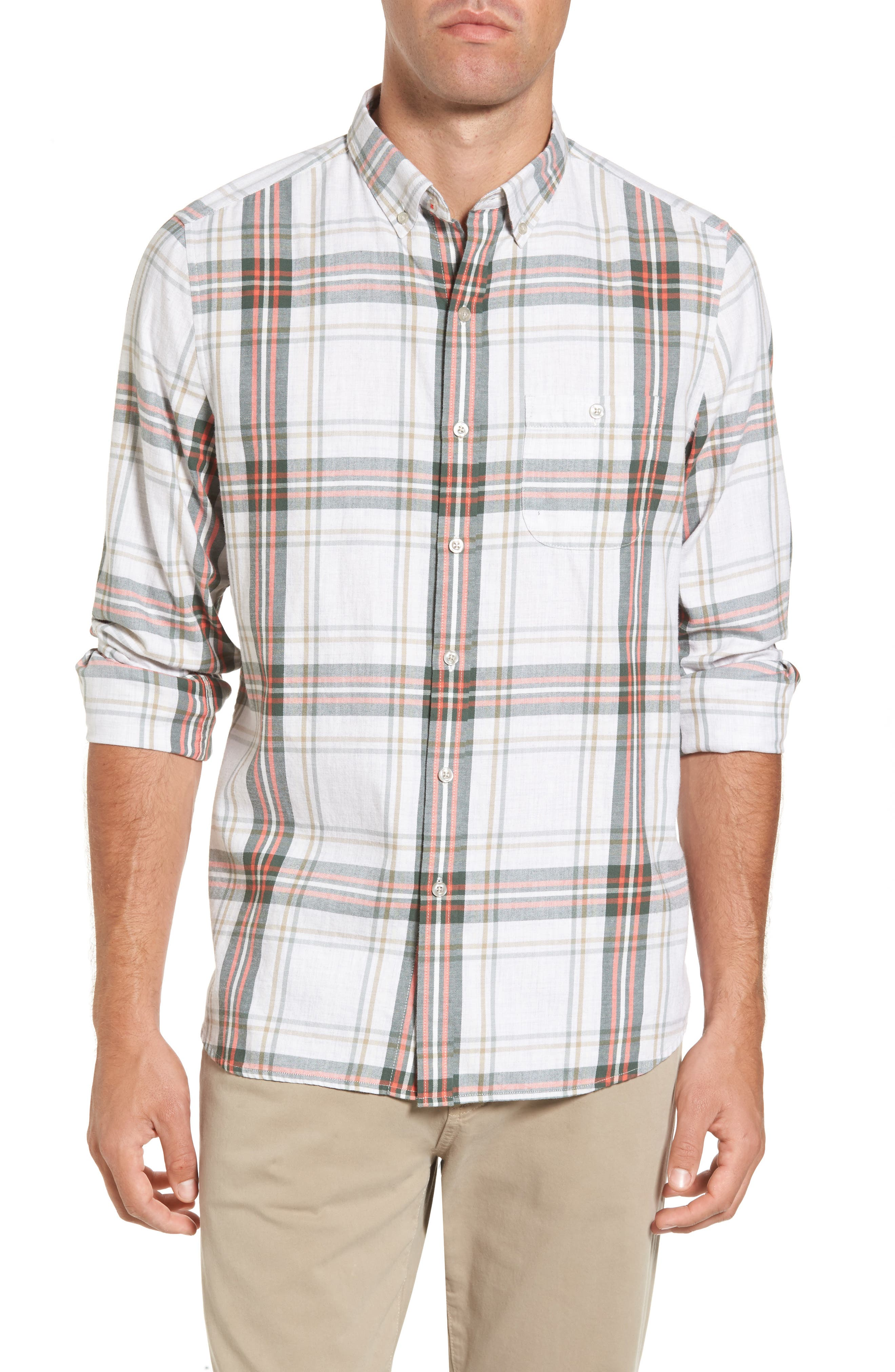 Michael Bastian Trim Fit Plaid Sport Shirt