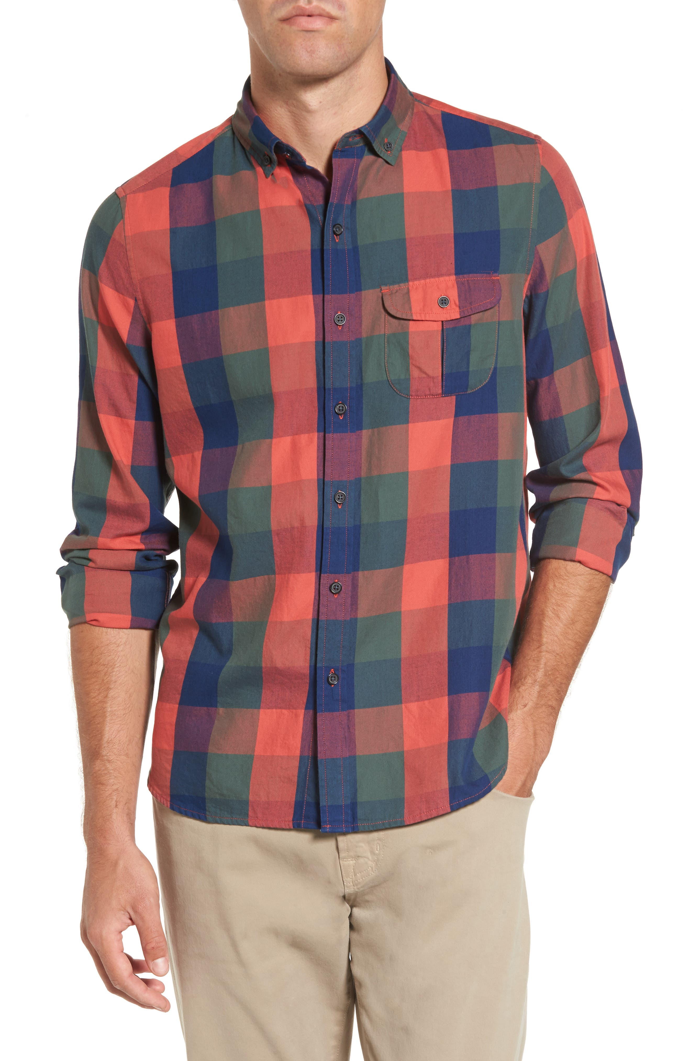 Trim Fit Plaid Sport Shirt,                         Main,                         color, Indigo