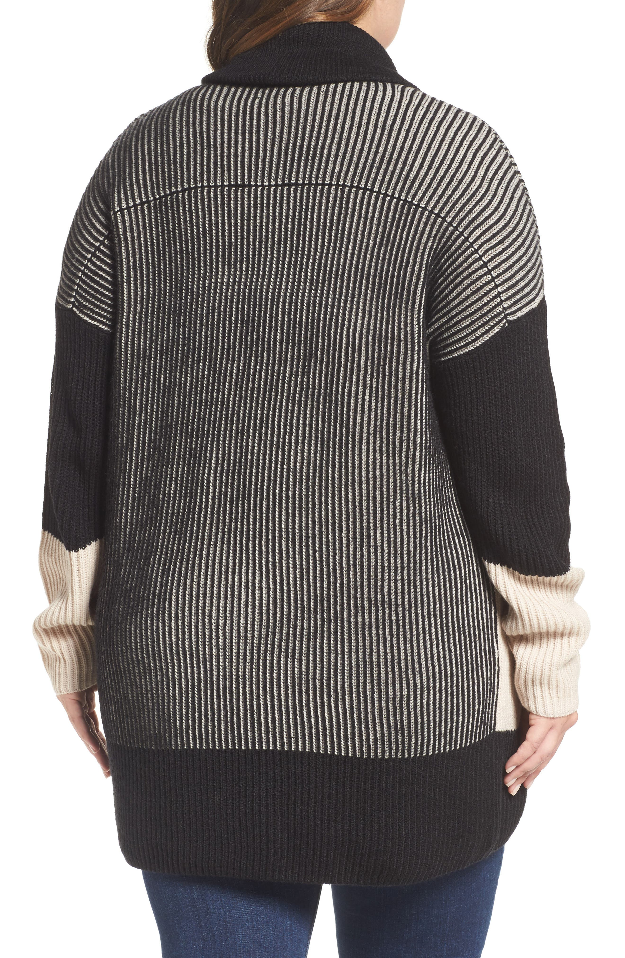 Colorblock Ribbed Cardigan,                             Alternate thumbnail 2, color,                             Beige- Black Pattern