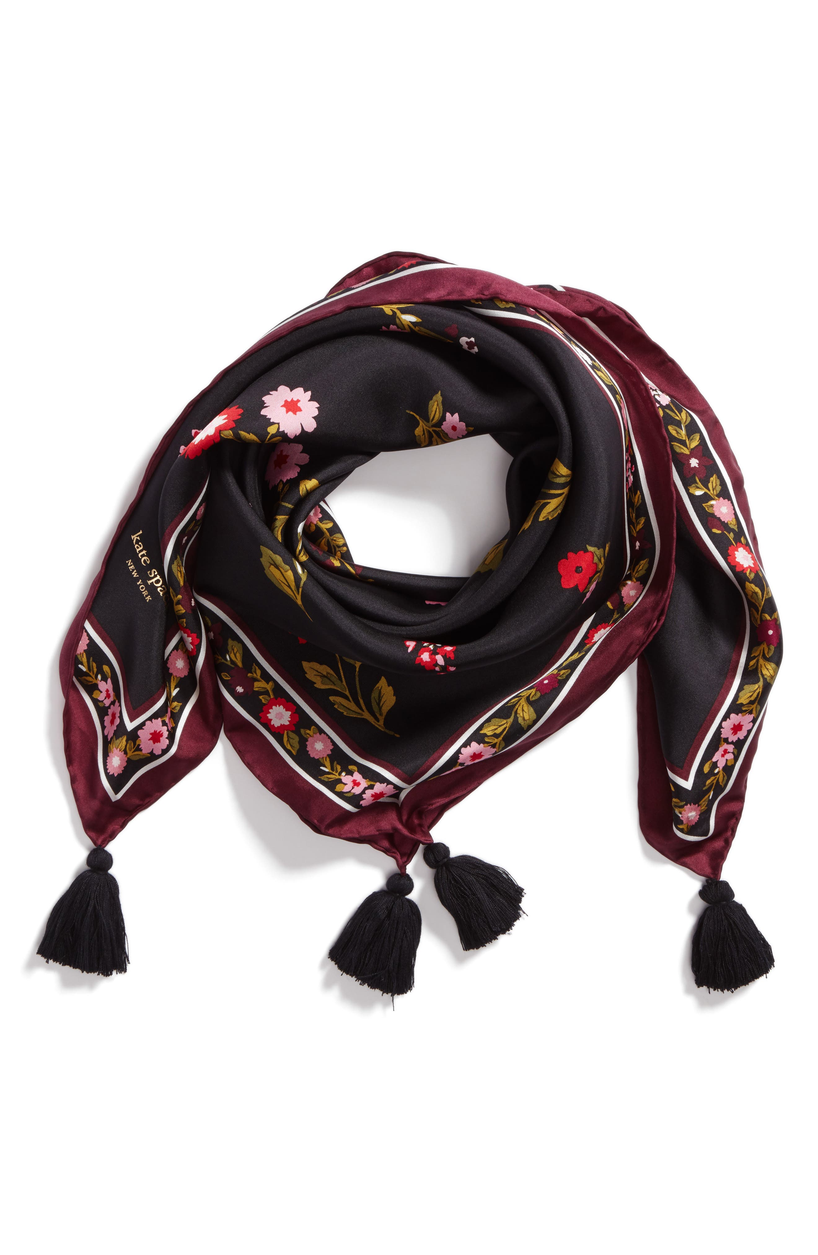 in bloom square silk scarf,                             Main thumbnail 1, color,                             Black