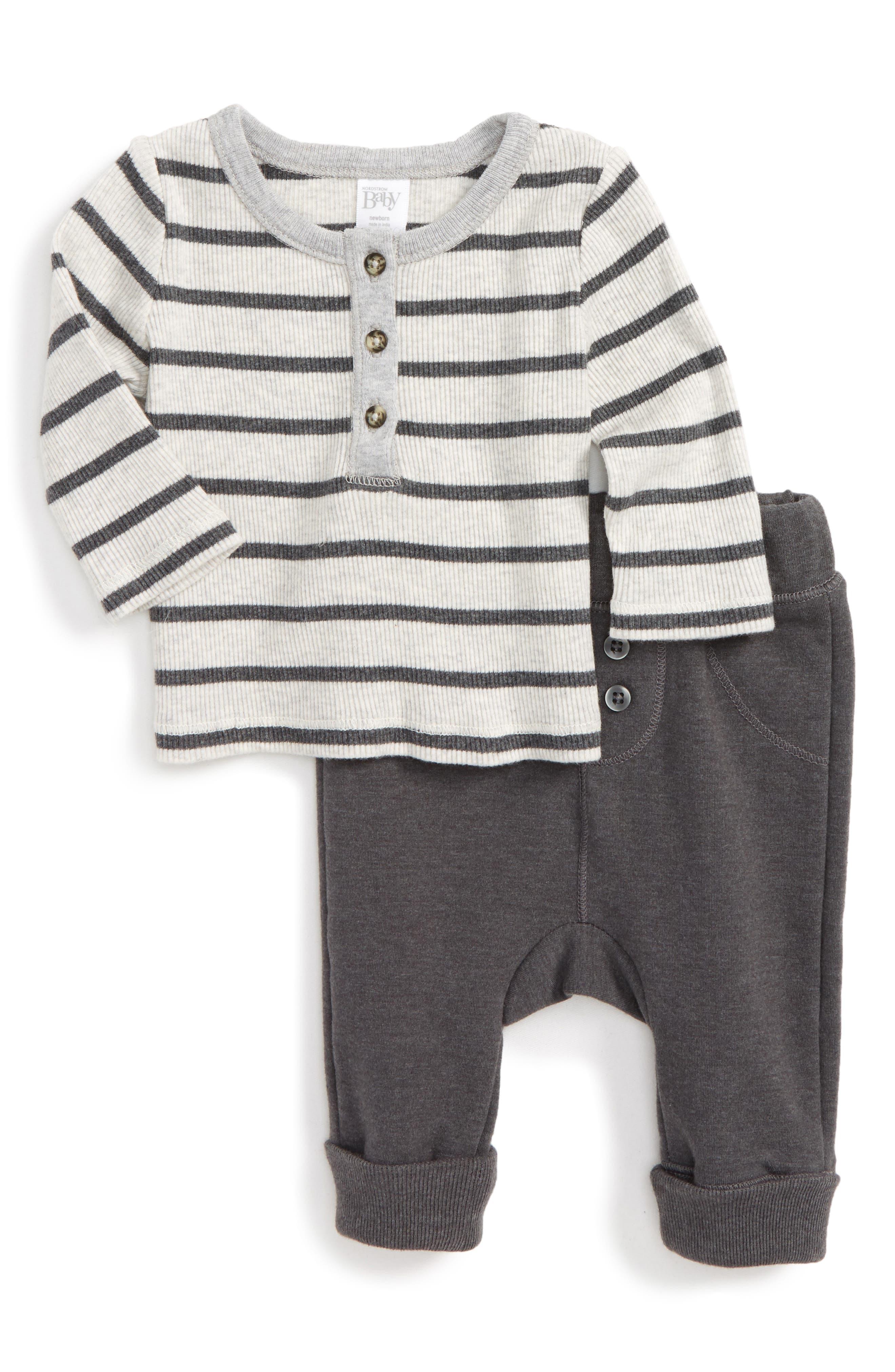 Nordstrom Baby Stripe Henley & Terry Pants Set (Baby Boys)