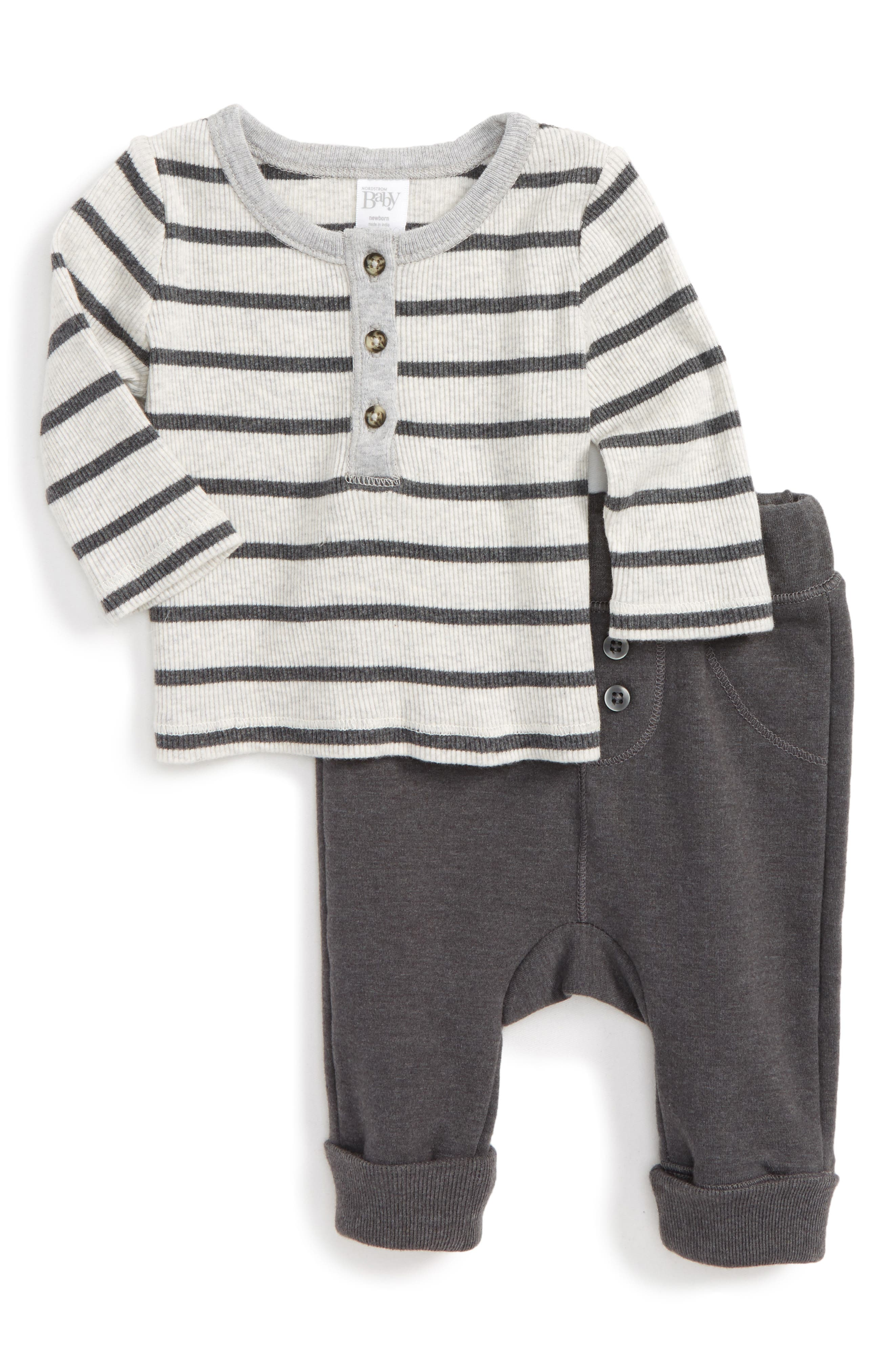 Main Image - Nordstrom Baby Stripe Henley & Terry Pants Set (Baby Boys)