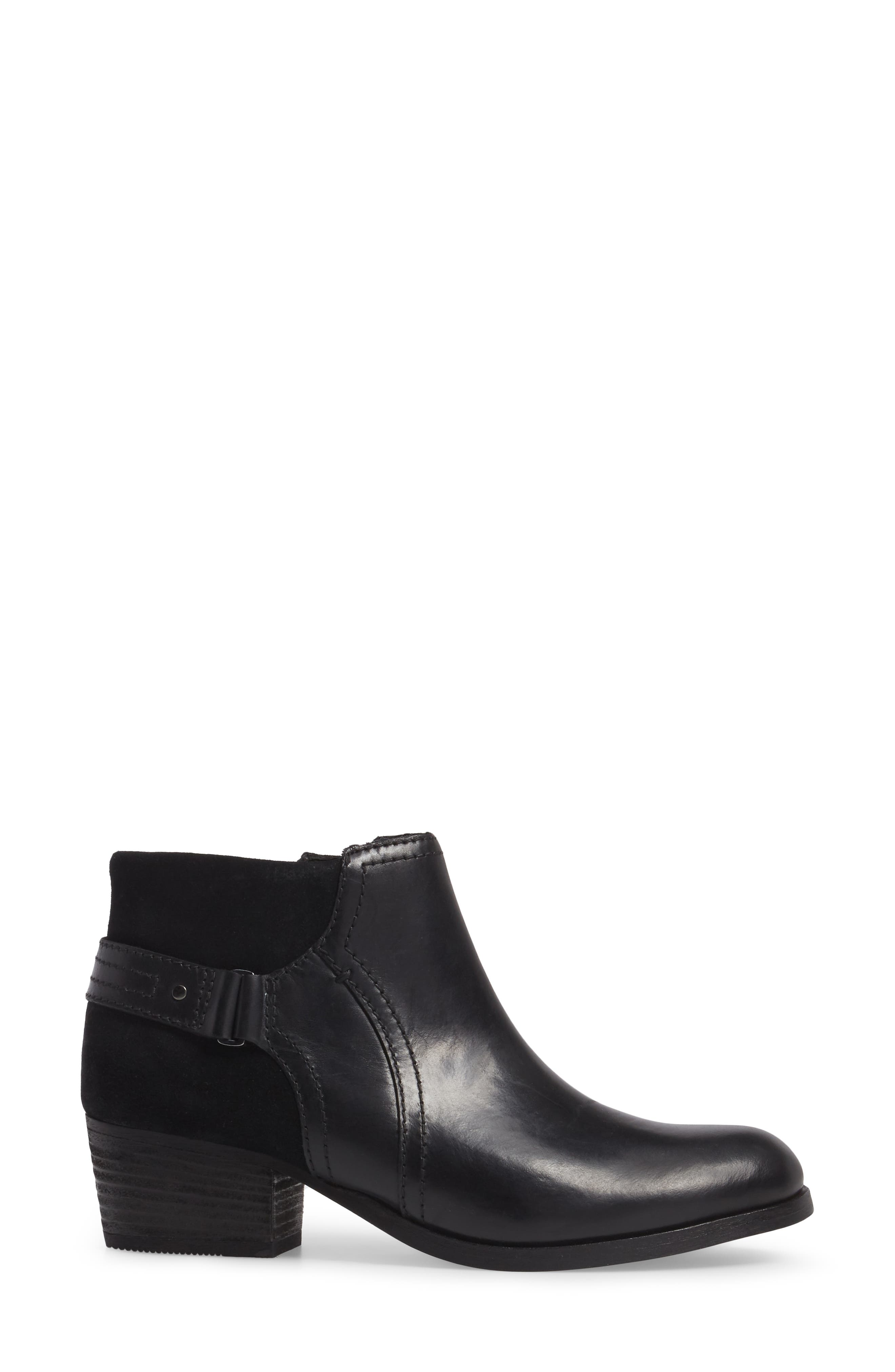 Maypearl Lilac Bootie,                             Alternate thumbnail 3, color,                             Black Leather