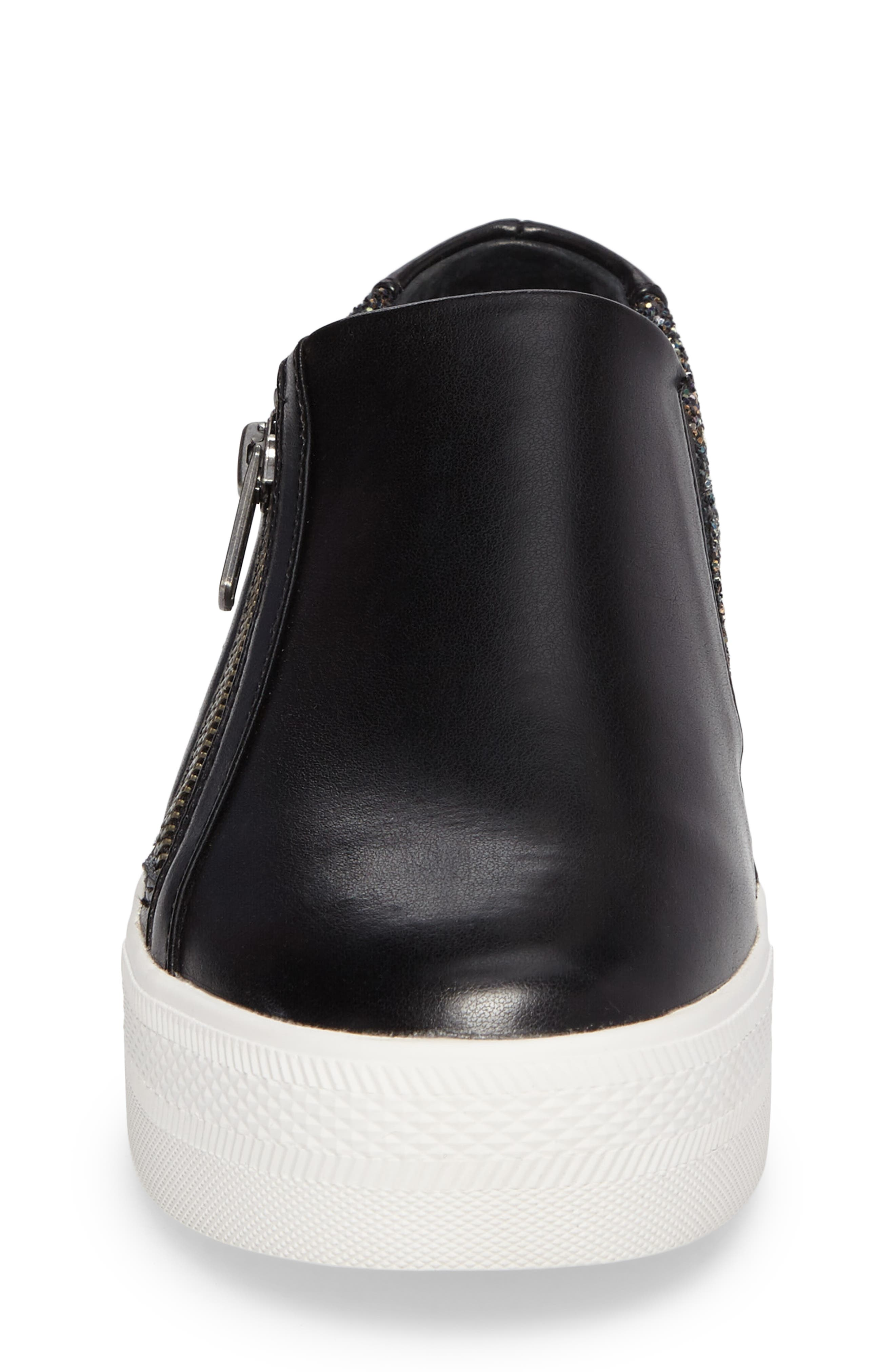 Lynn Monica Glittery Zip Sneaker,                             Alternate thumbnail 4, color,                             Black Faux Leather