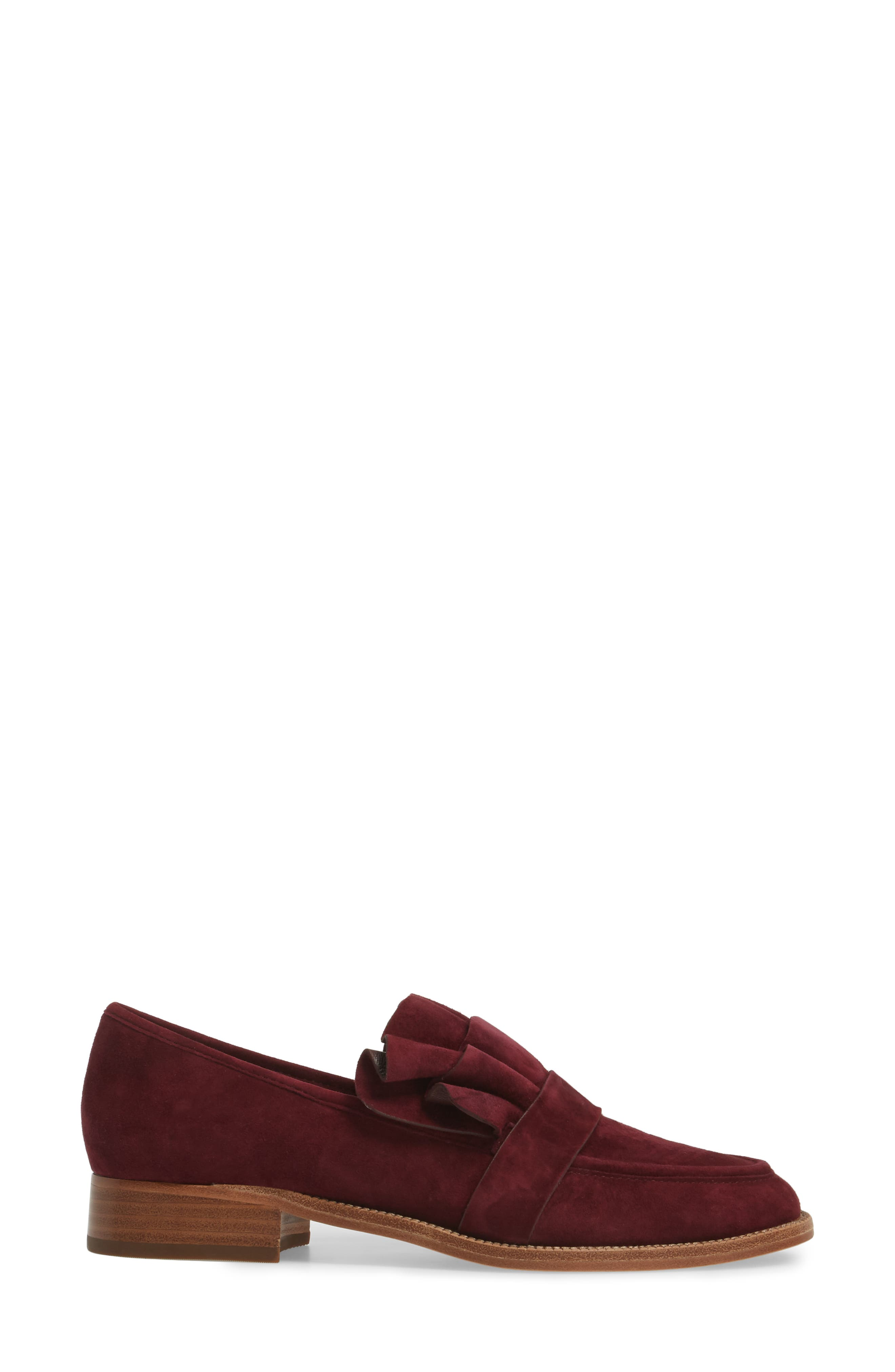 Tenley Ruffled Loafer,                             Alternate thumbnail 3, color,                             Merlot Suede