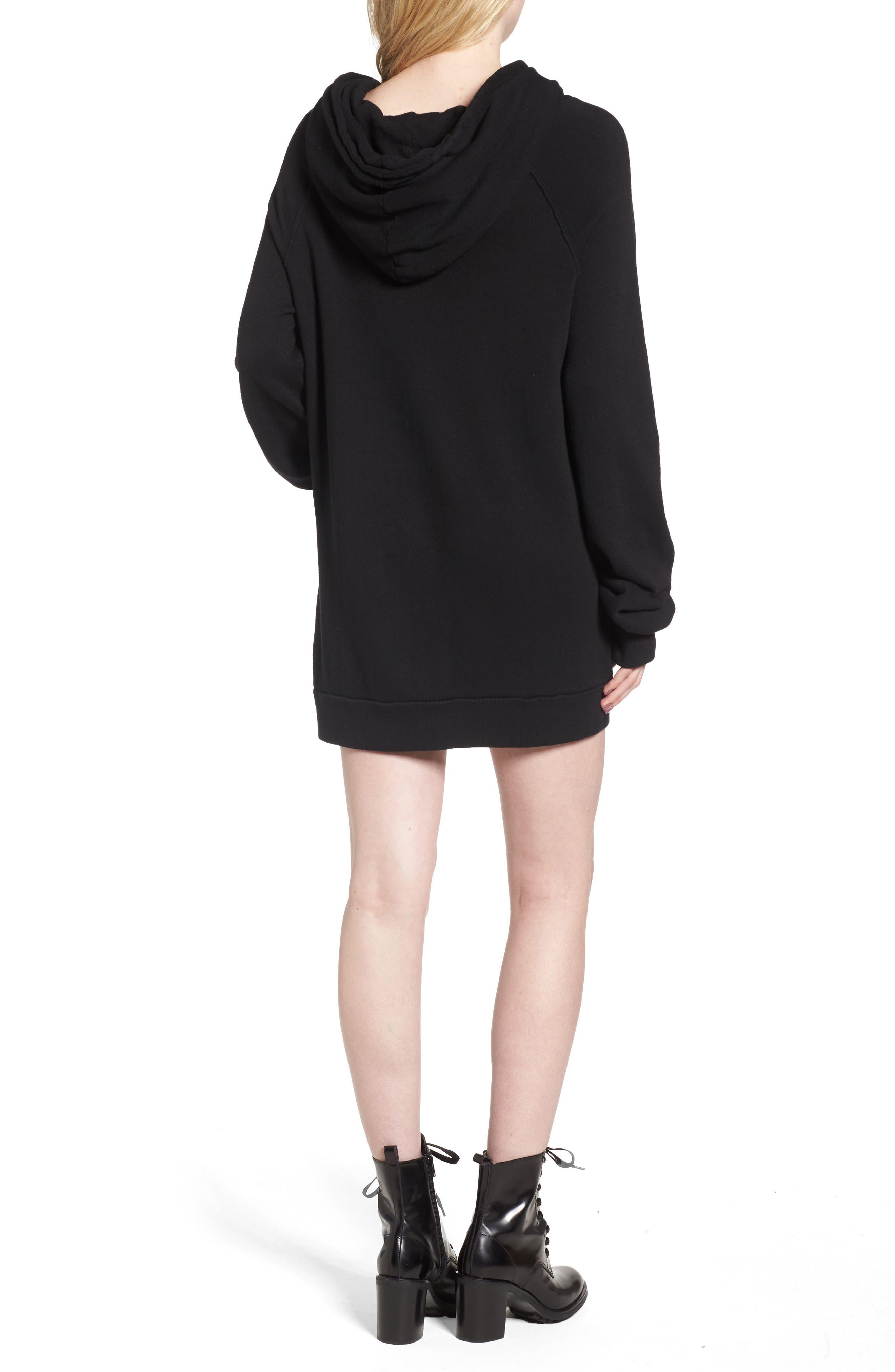 Crest Patch Sweatshirt Dress,                             Alternate thumbnail 2, color,                             Black