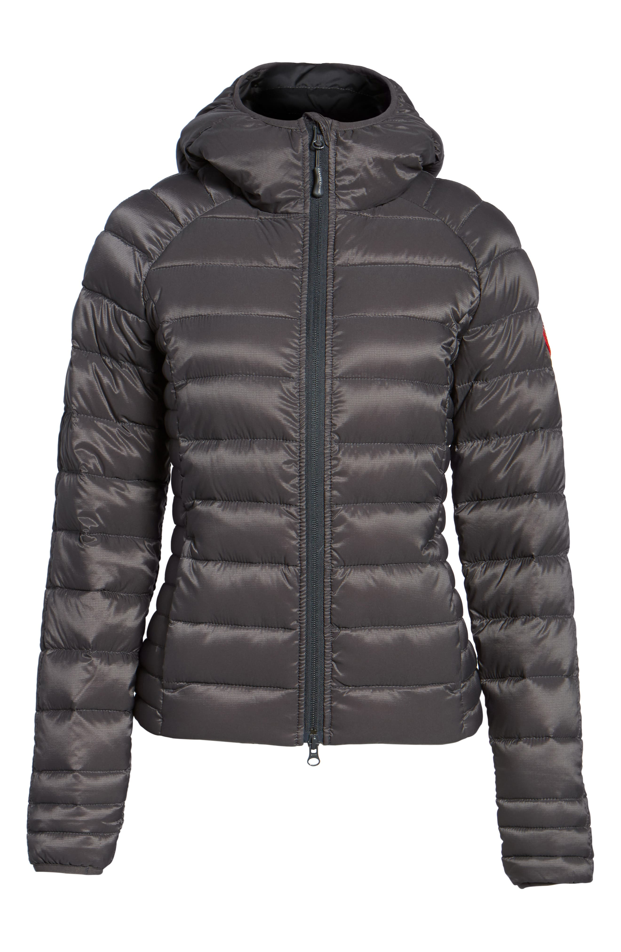 'Brookvale' Packable Hooded Quilted Down Jacket,                             Alternate thumbnail 7, color,                             Graphite/ Black