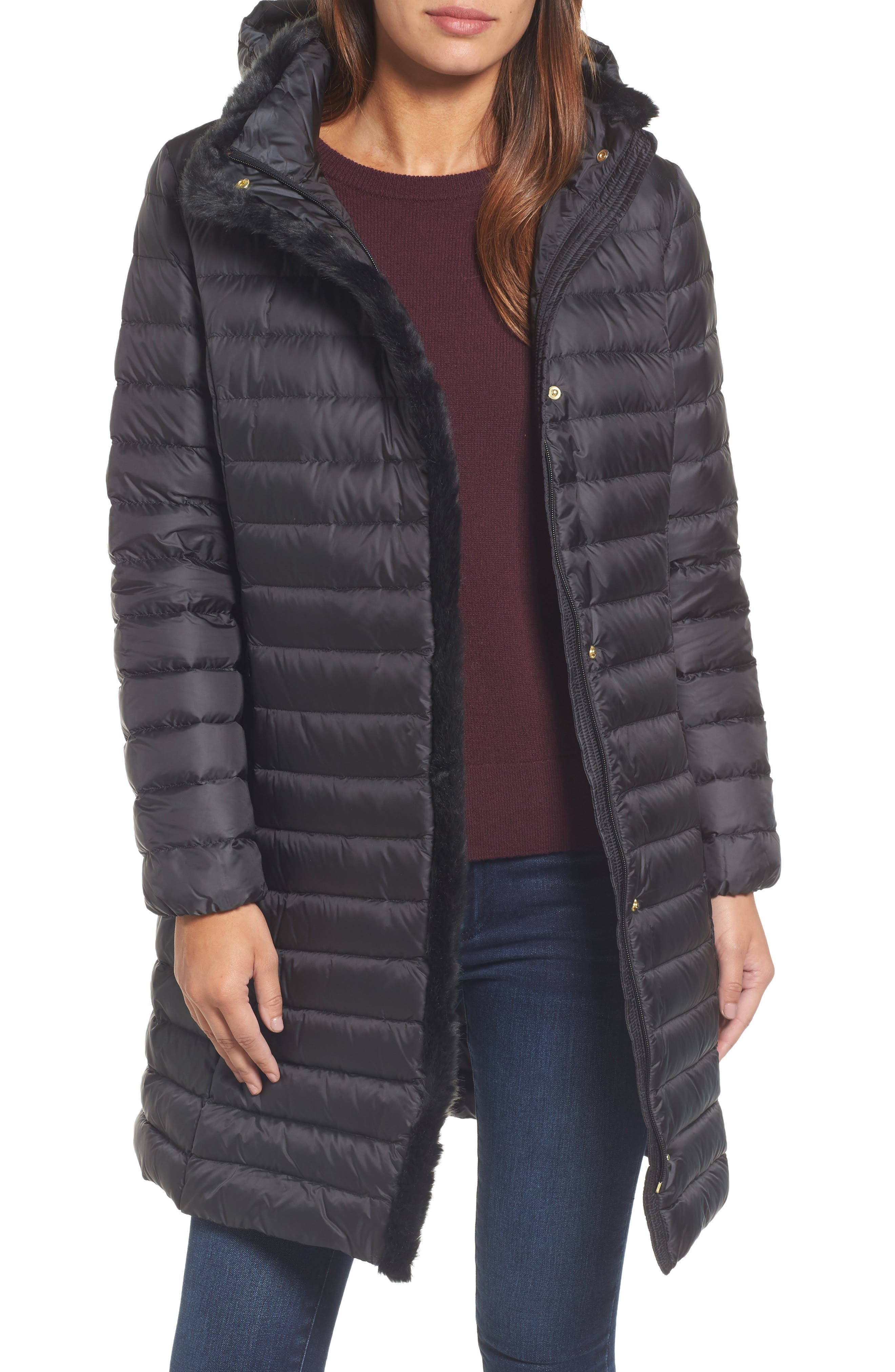 Cole Haan Signature Down Jacket with Faux Fur Hood