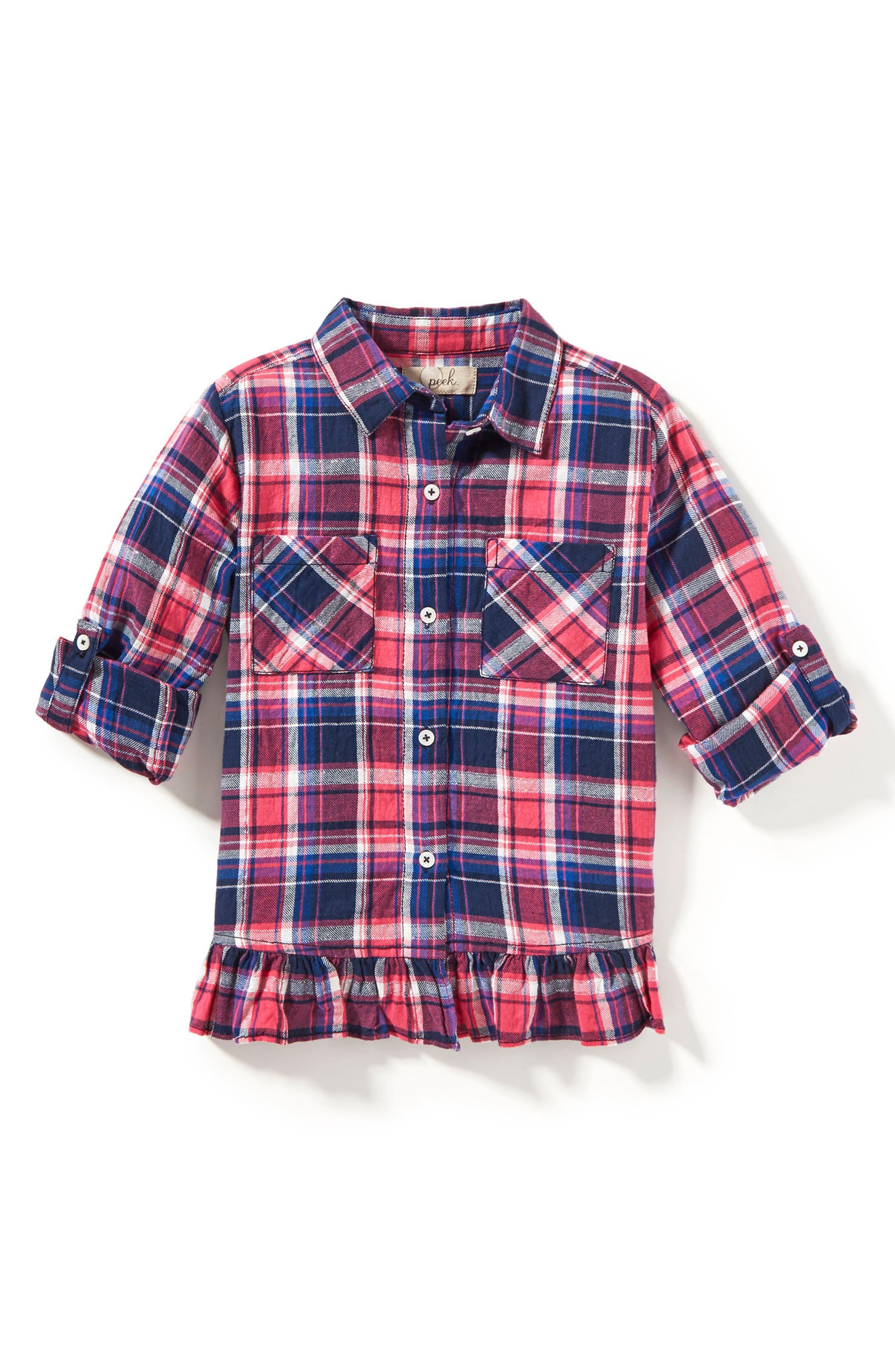 Maggie Ruffle Hem Plaid Shirt,                         Main,                         color, Fuchsia