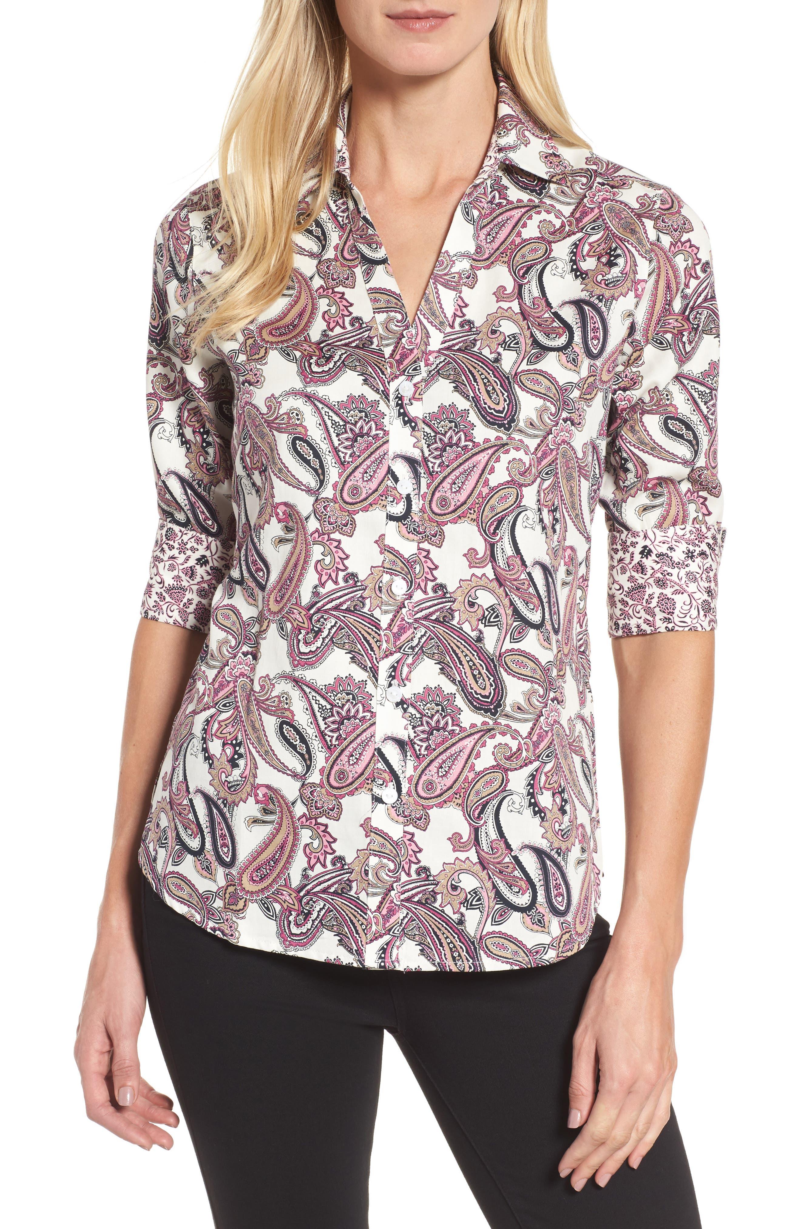 Mary Paisley Wrinkle Free Shirt,                         Main,                         color, Roseberry