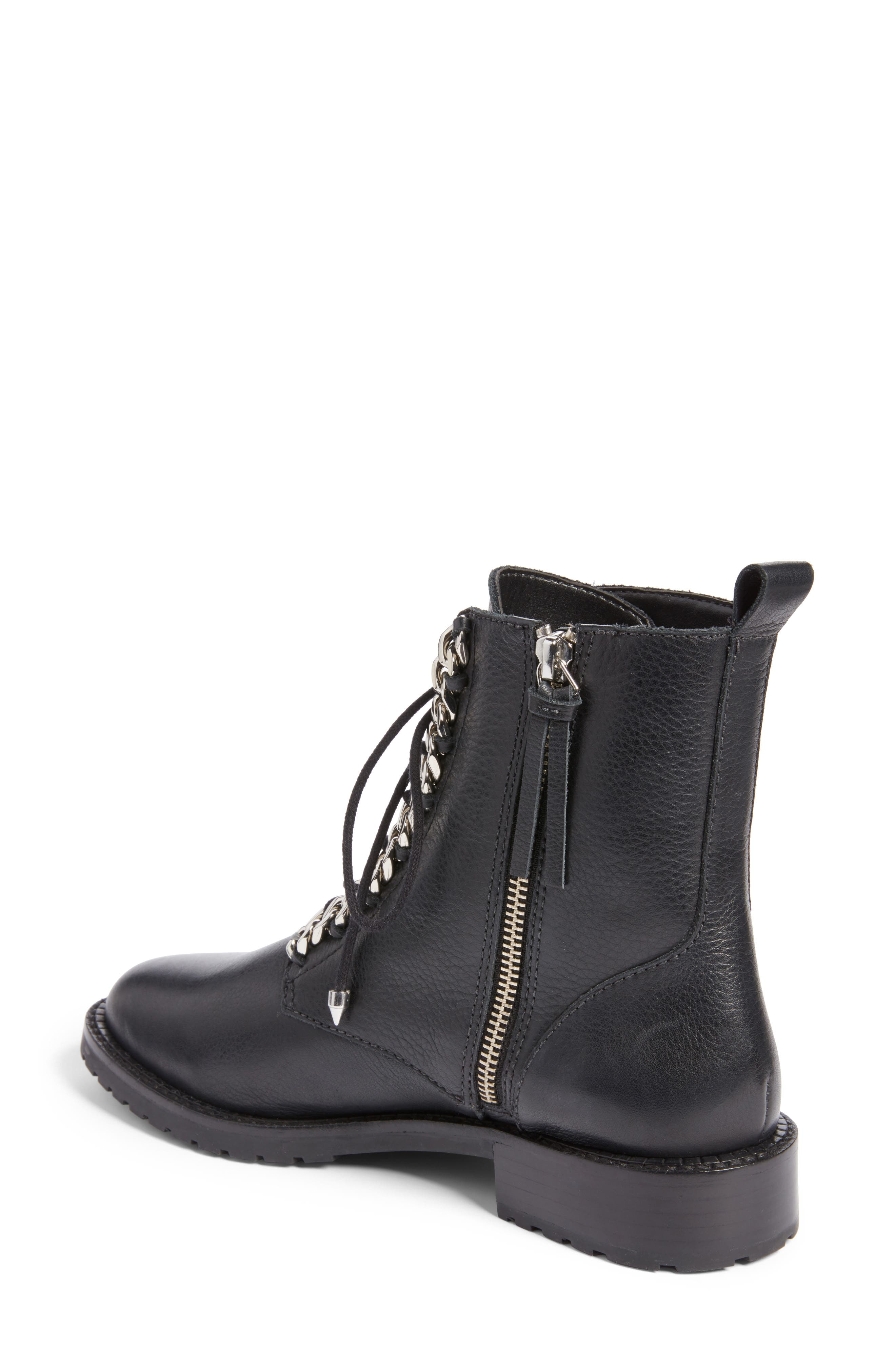 Gian Combat Boot,                             Alternate thumbnail 2, color,                             Black Leather