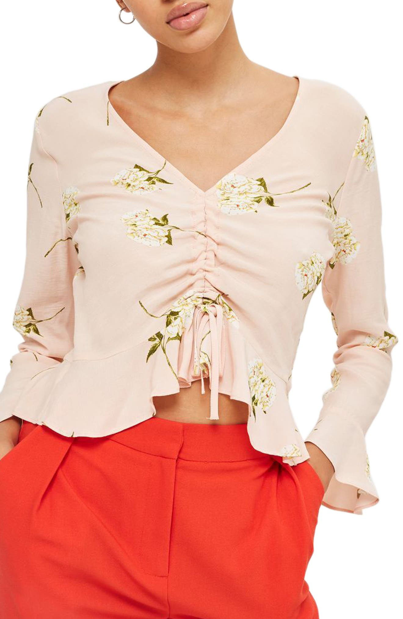 Ruby Carnation Ruched Blouse,                             Main thumbnail 1, color,                             Light Pink Multi