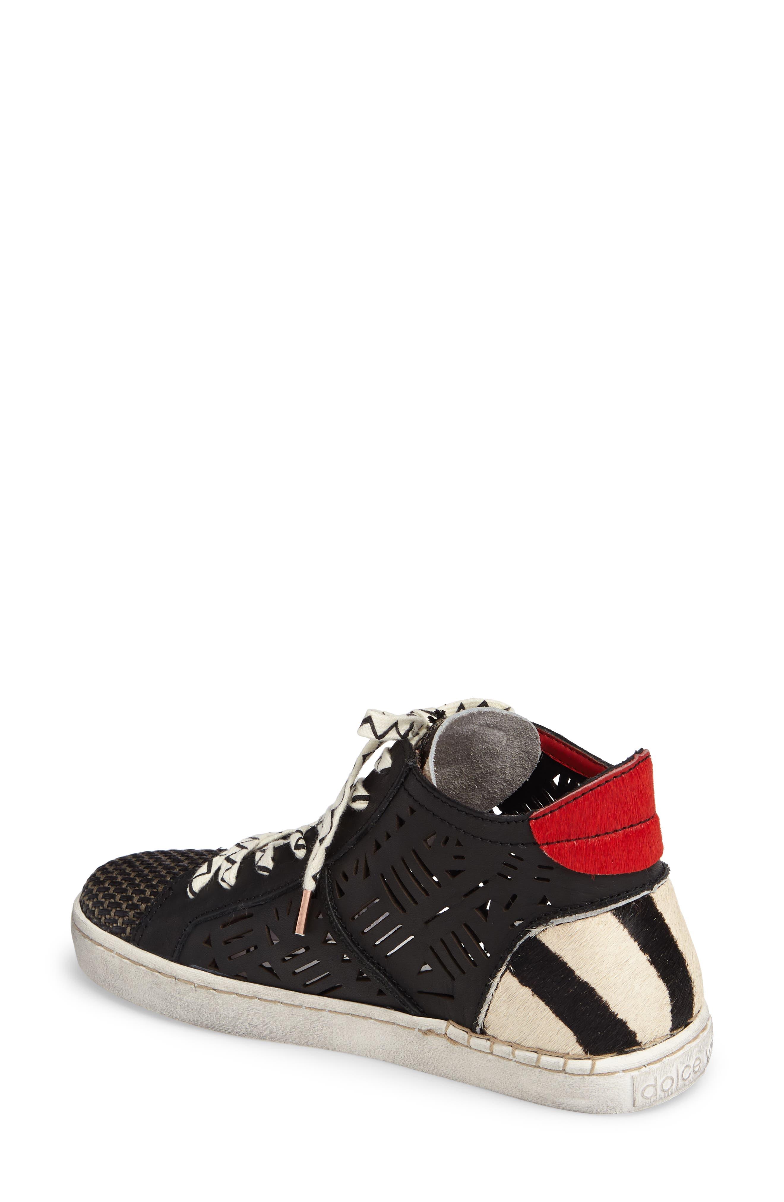 Zeus Genuine Calf Hair Sneaker,                             Alternate thumbnail 2, color,                             Black Lea