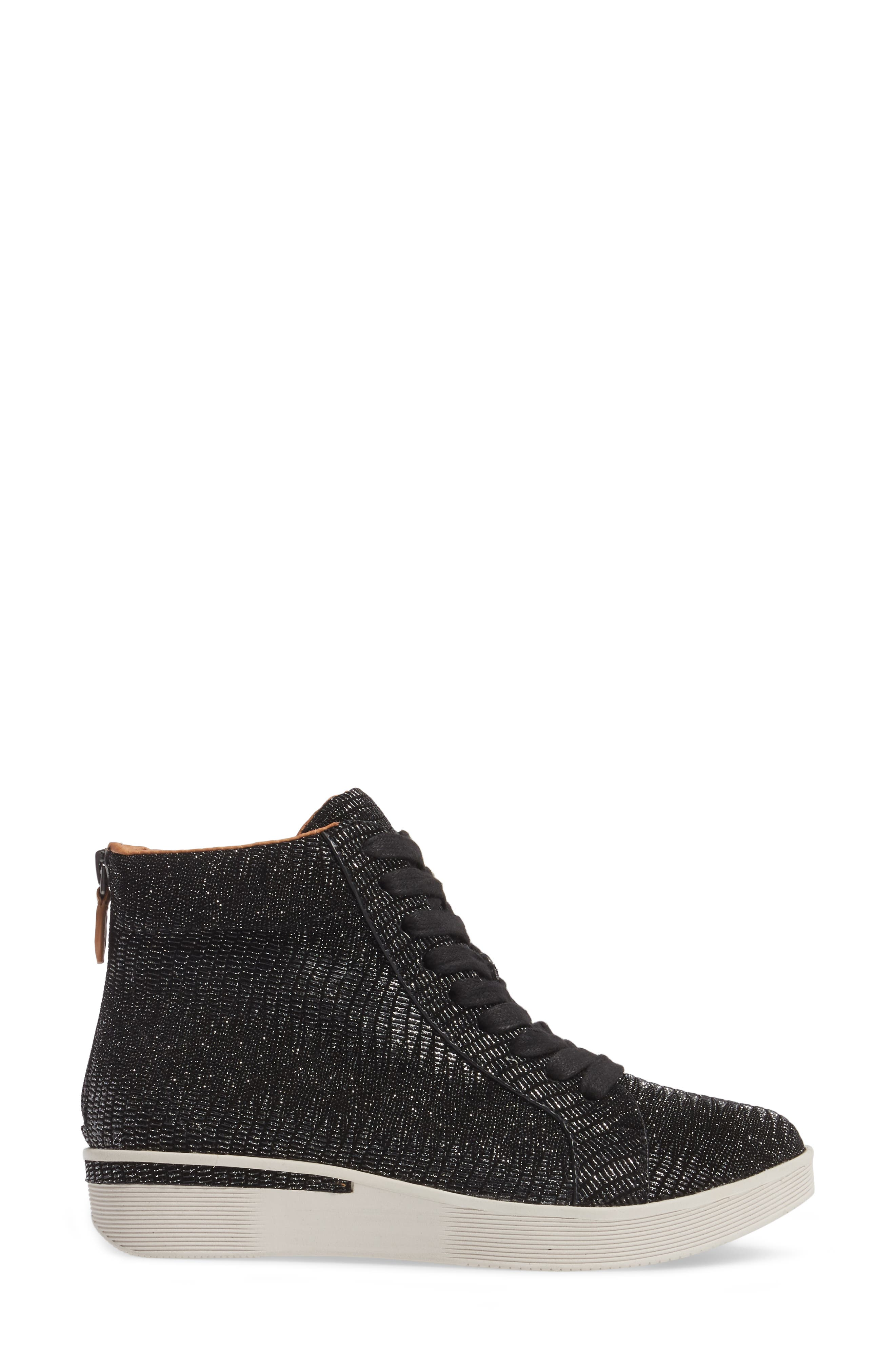 Helka High Top Sneaker,                             Alternate thumbnail 3, color,                             Black Metallic Leather
