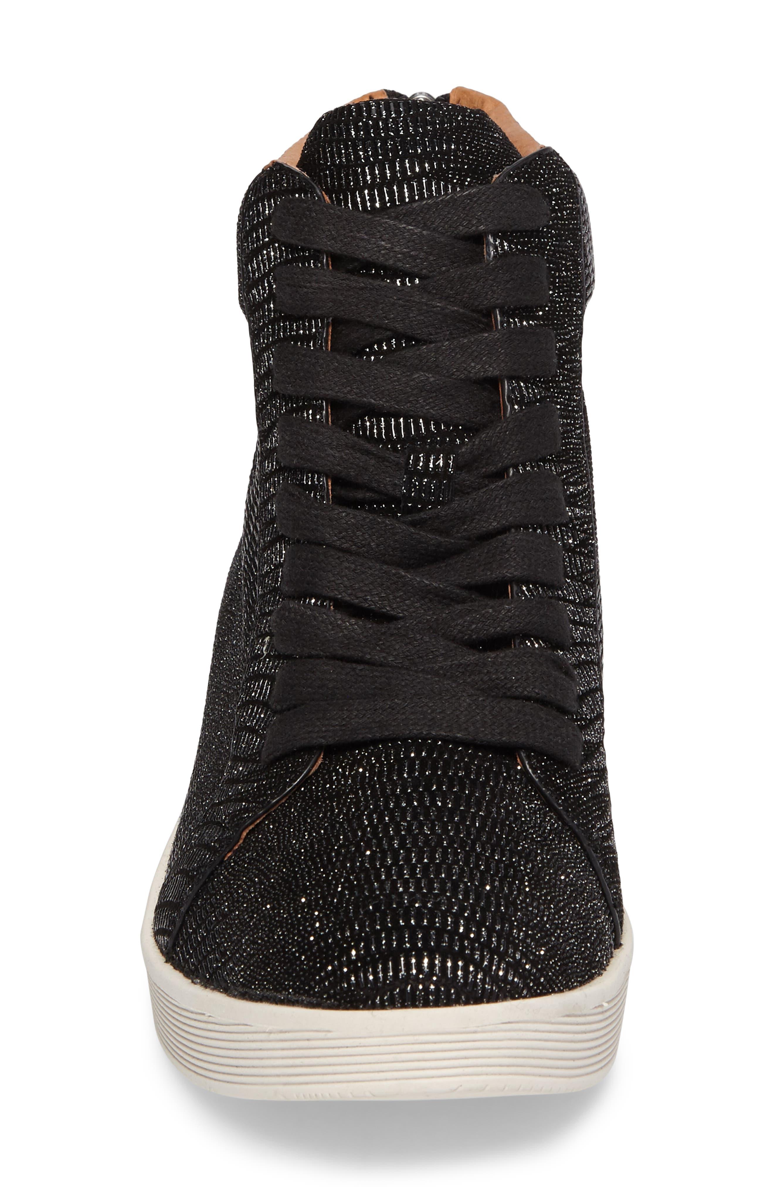 Helka High Top Sneaker,                             Alternate thumbnail 4, color,                             Black Metallic Leather
