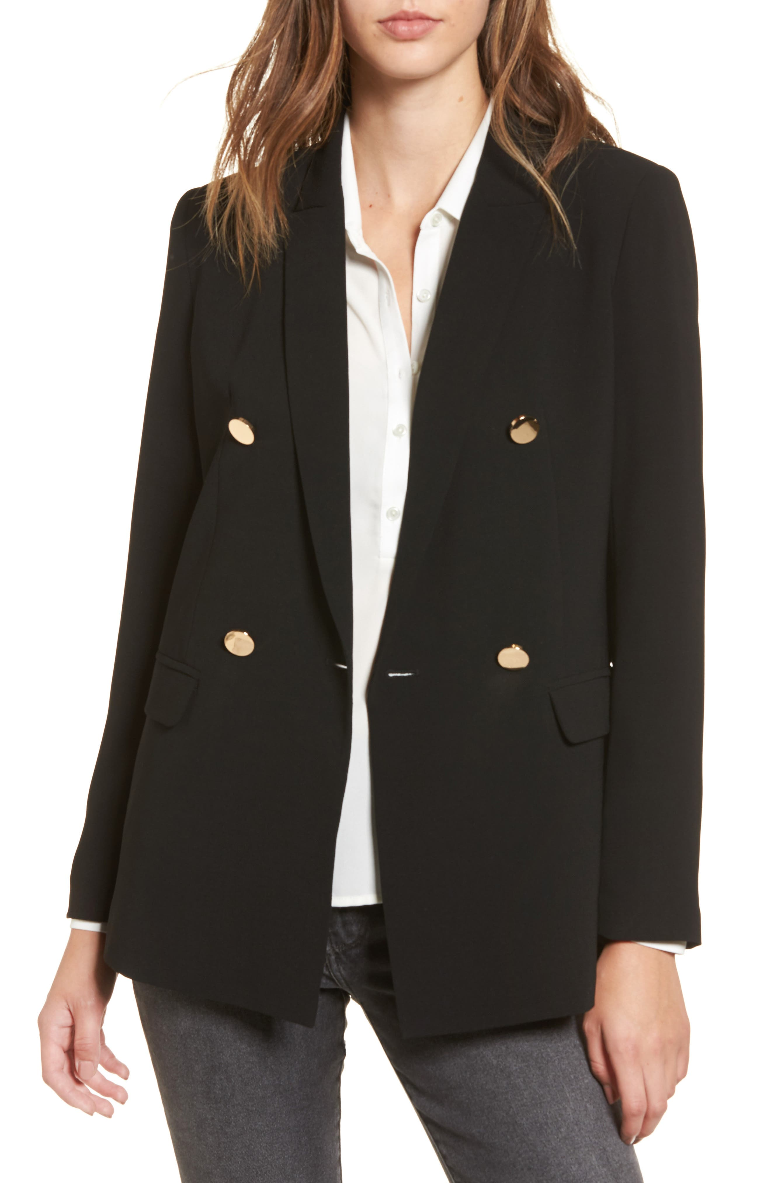 Oversize Double Breasted Blazer,                             Main thumbnail 1, color,                             Black