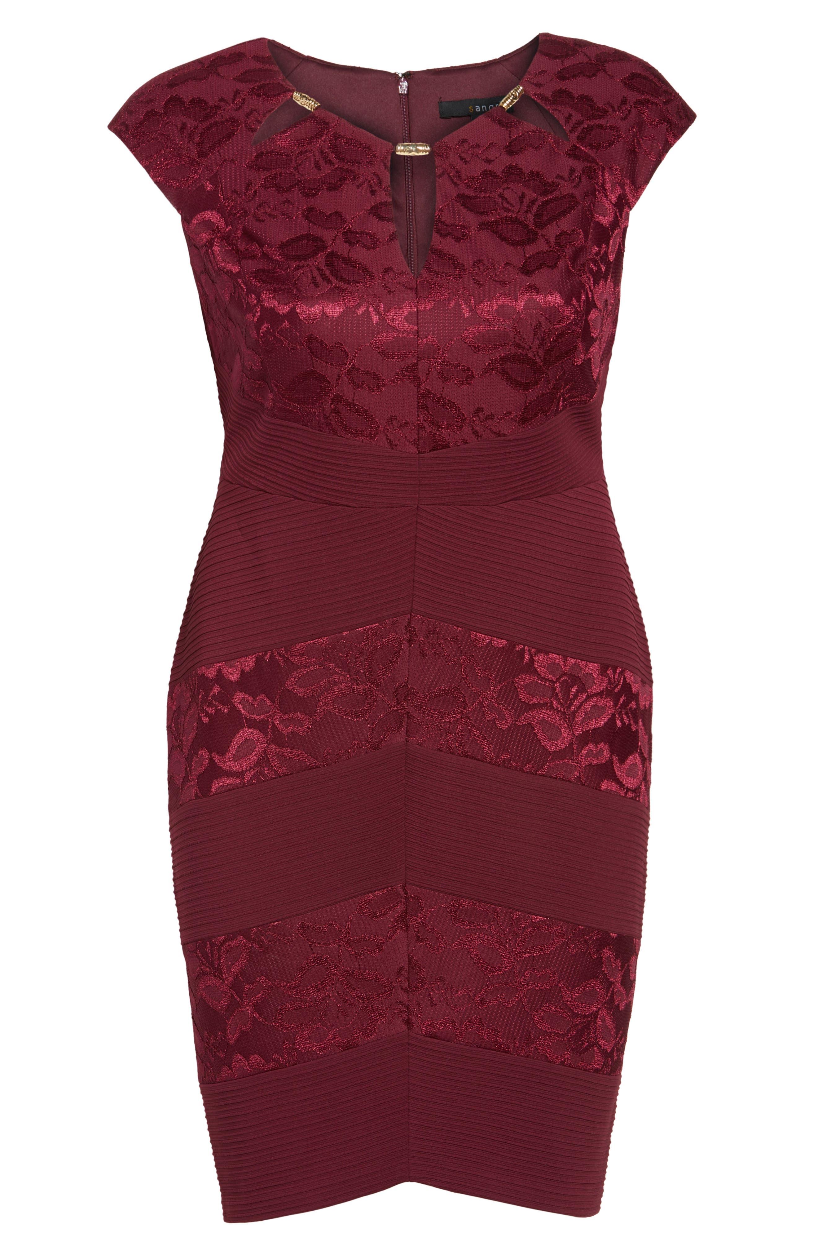 Alternate Image 6  - Sangria Cutout Neck Sheath Dress (Plus Size)