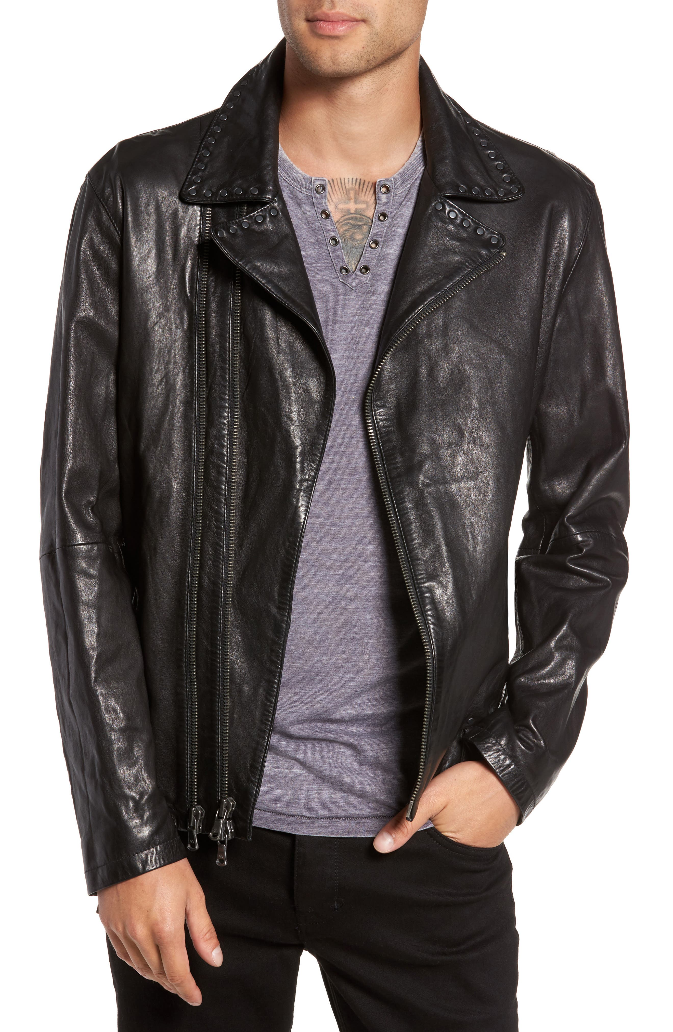 Main Image - John Varvatos Star USA Studded Collar Leather Jacket