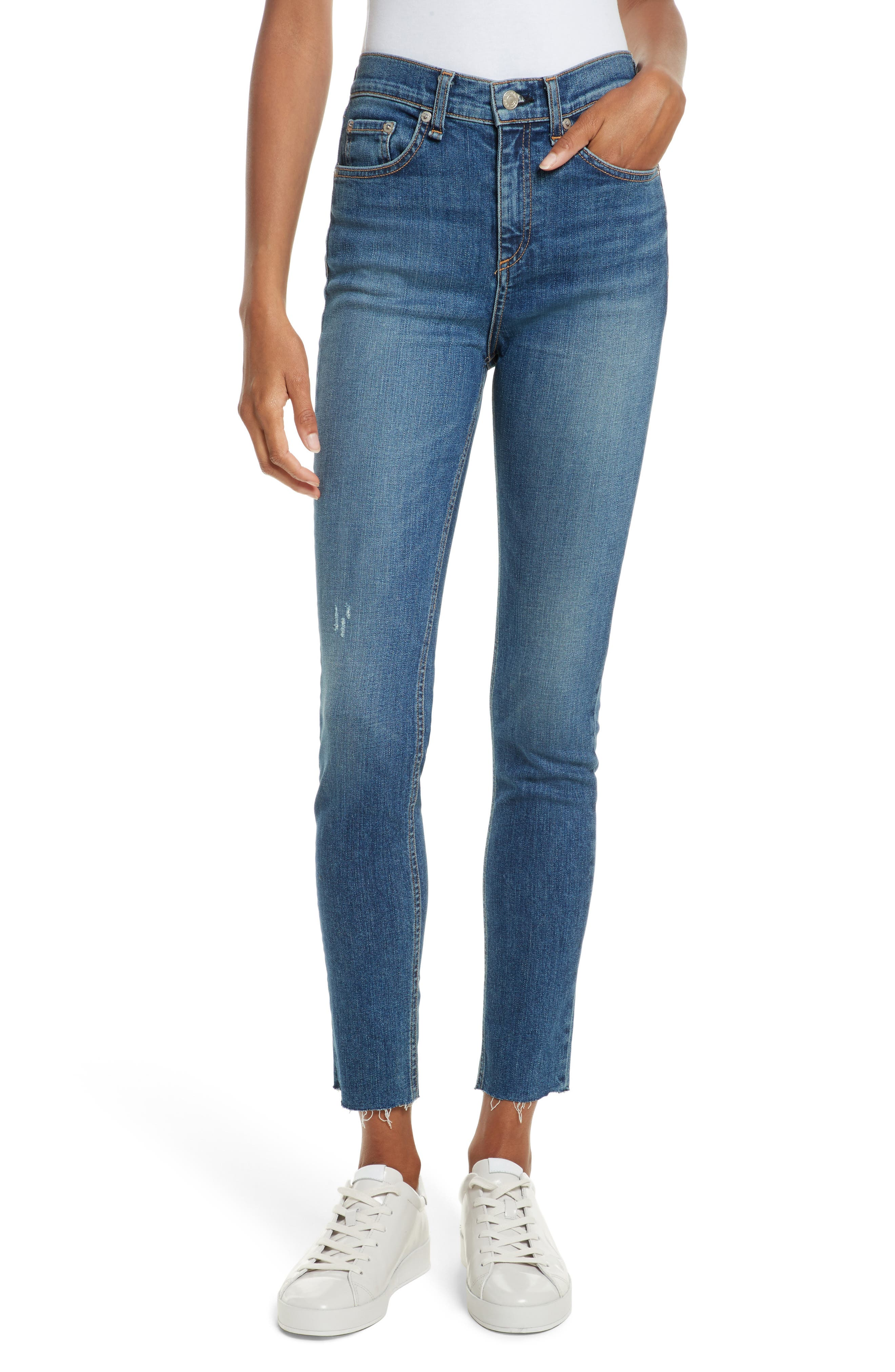 Alternate Image 1 Selected - rag & bone/JEAN High Waist Skinny Jeans (El)