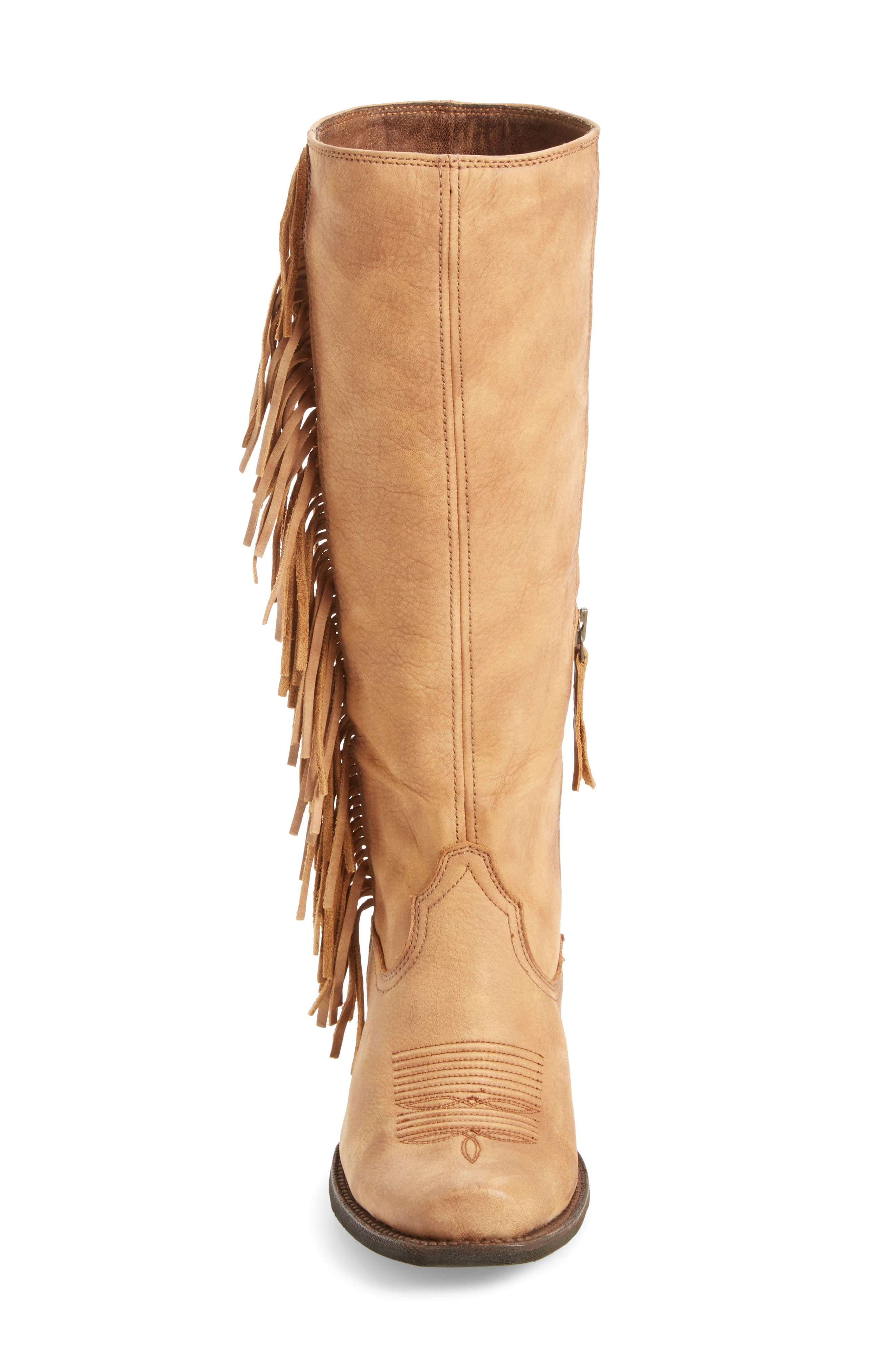 Leyton Fringe Western Boot,                             Alternate thumbnail 4, color,                             Tack Room Honey Leather