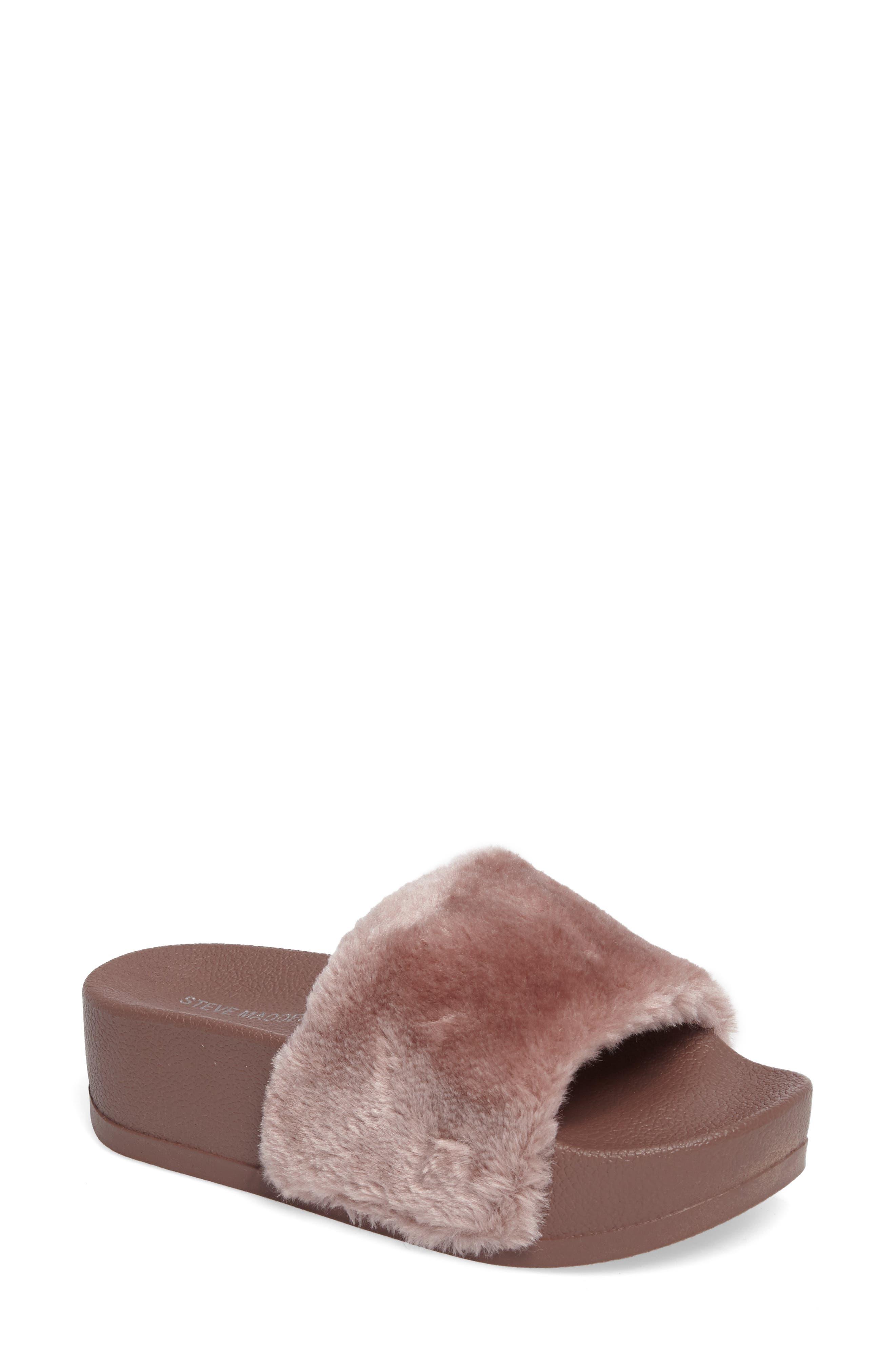 Main Image - Steve Madden Softey Faux Fur Platform Slide (Women)