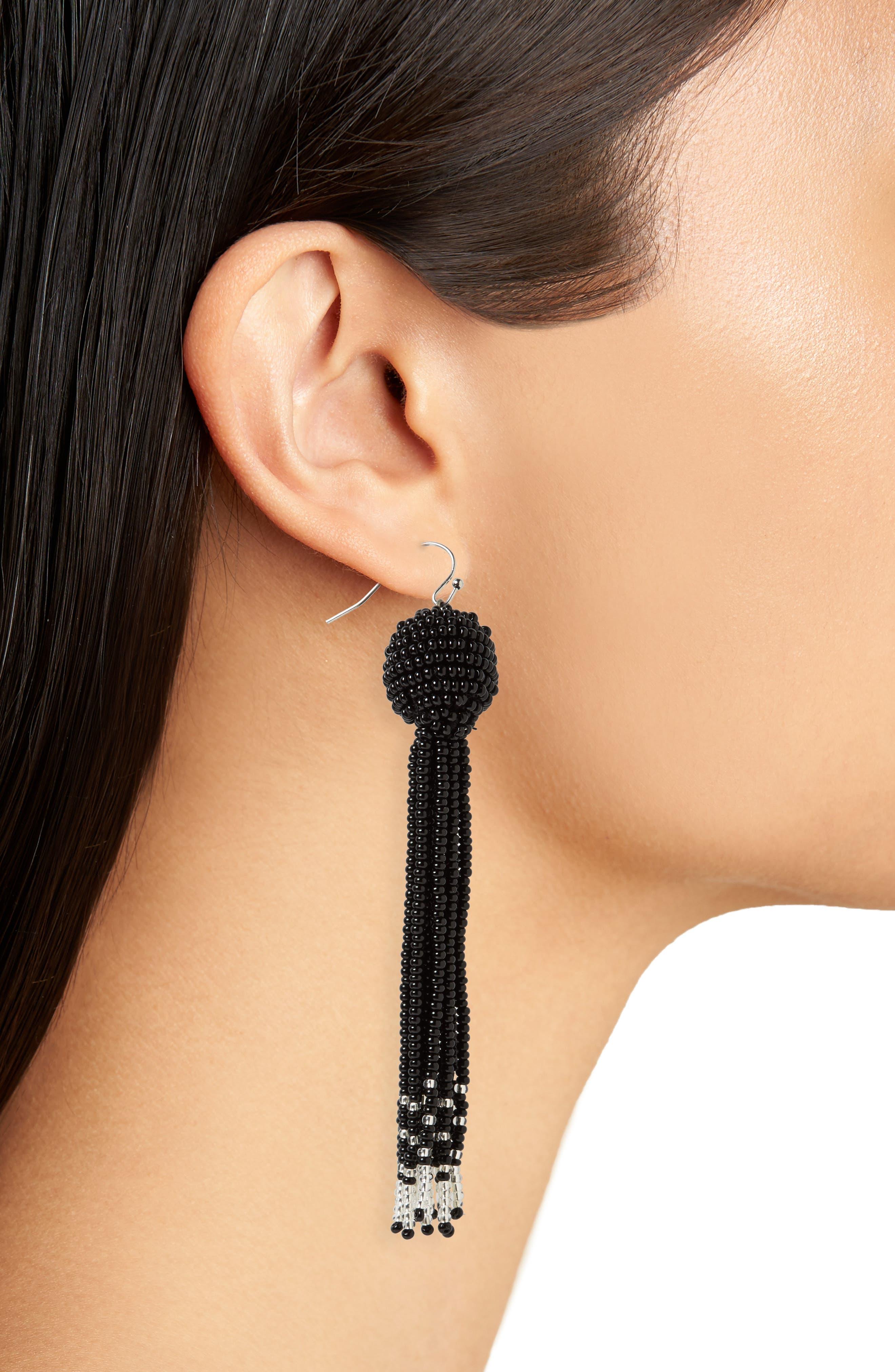 Beaded Tassel Earrings,                             Alternate thumbnail 2, color,                             Black