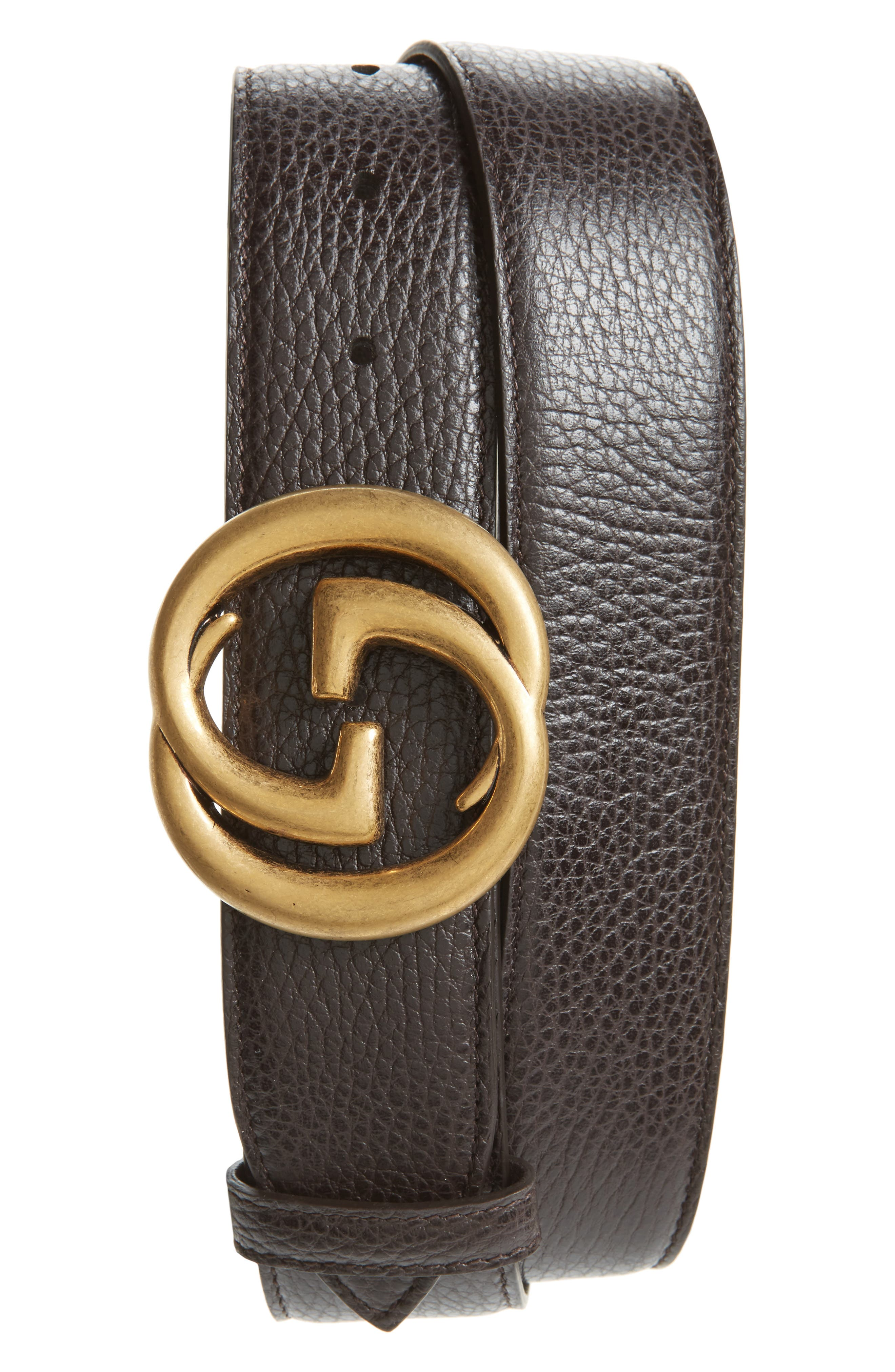 Interlocking-G Calfskin Leather Belt,                         Main,                         color, Cocoa