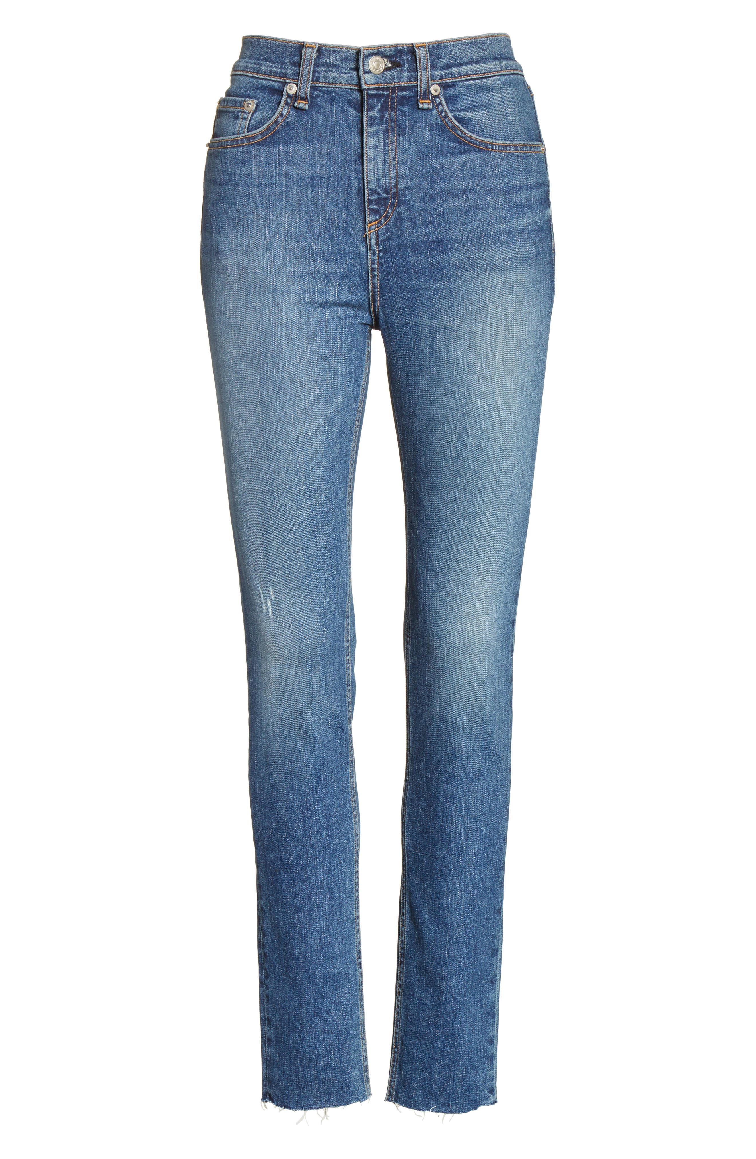 Alternate Image 6  - rag & bone/JEAN High Waist Skinny Jeans (El)