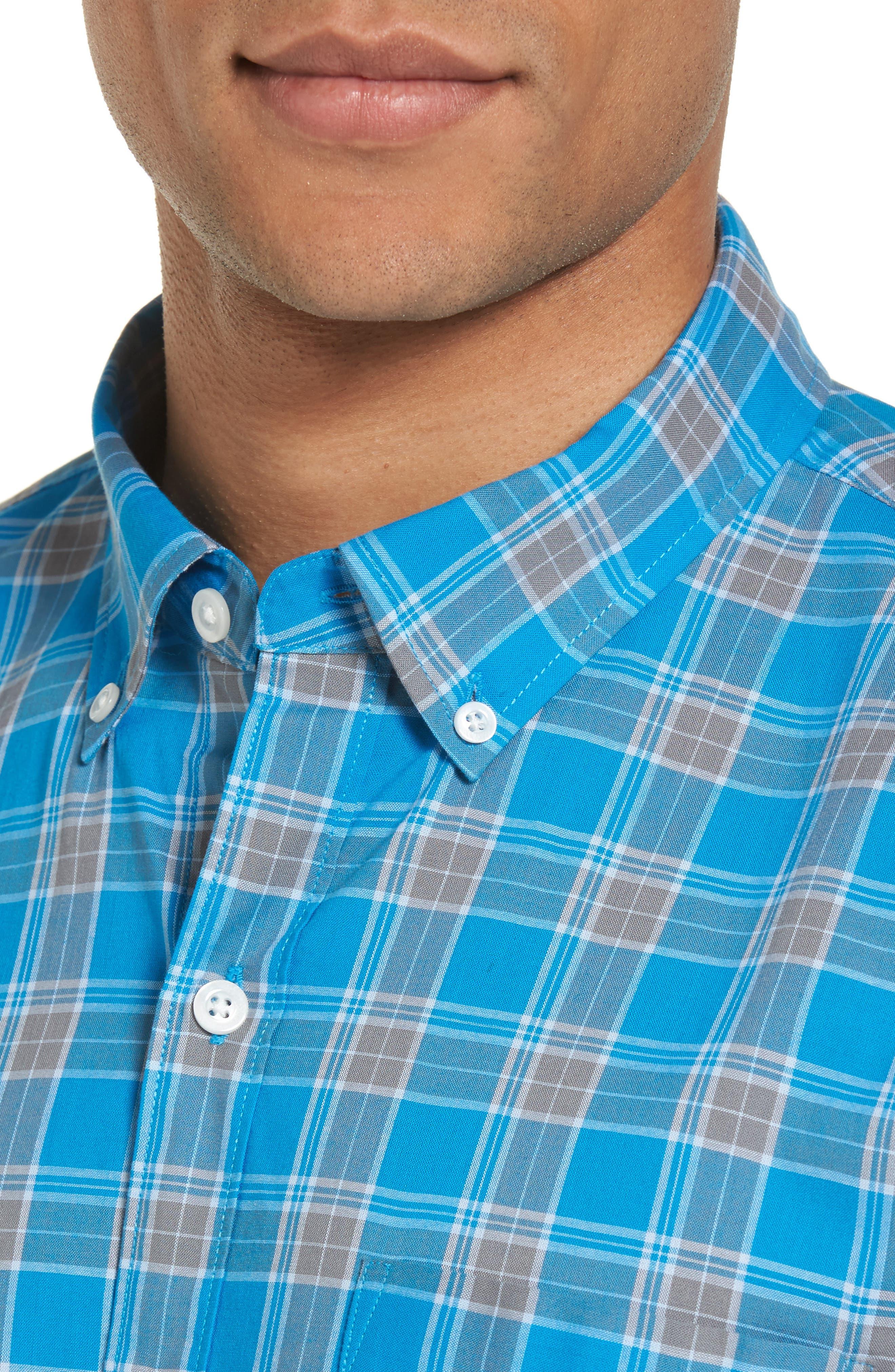 Summerweight Slim Fit Plaid Sport Shirt,                             Alternate thumbnail 4, color,                             Blue