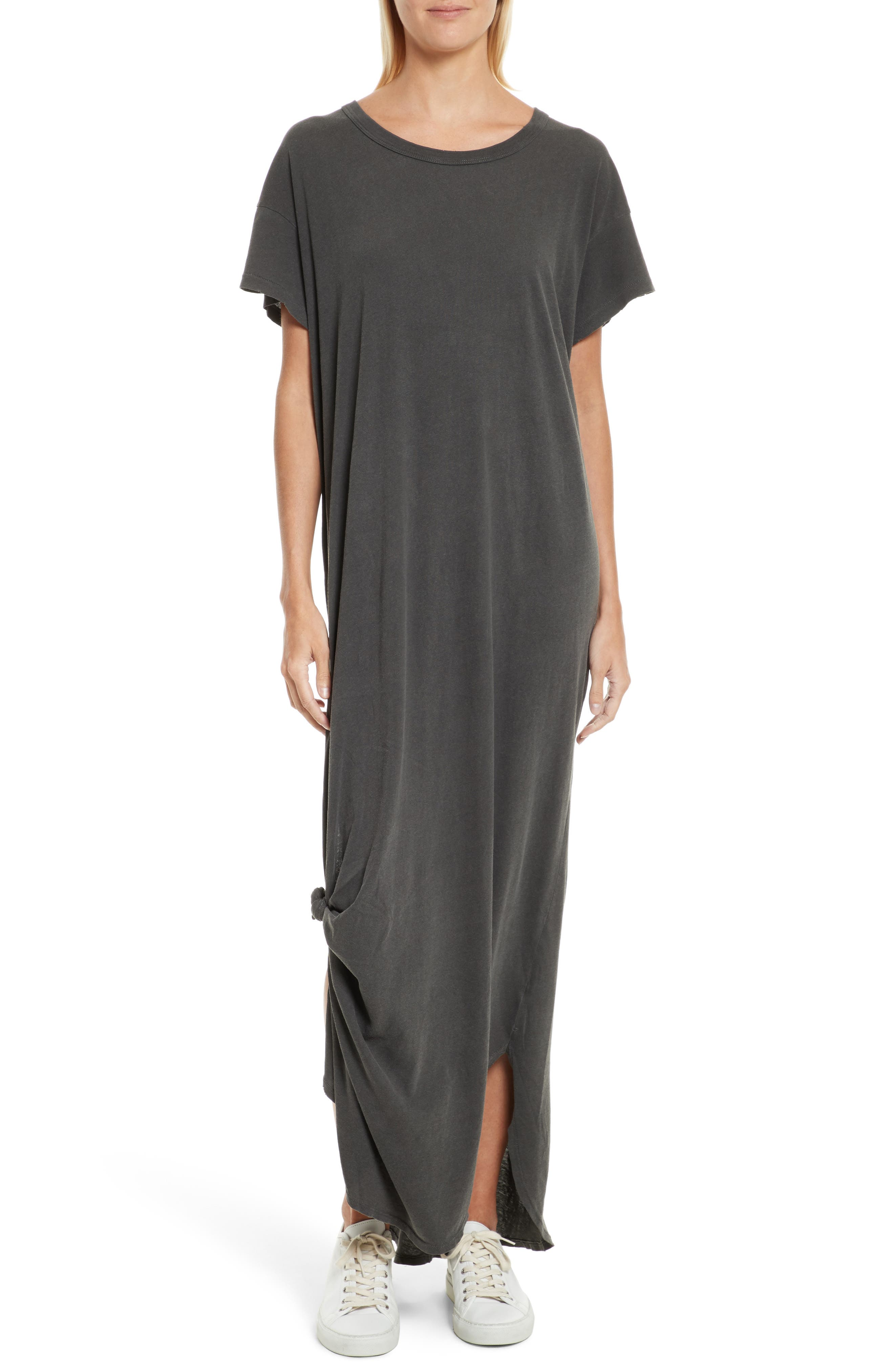 The Knotted Tee Dress,                         Main,                         color, Washed Black