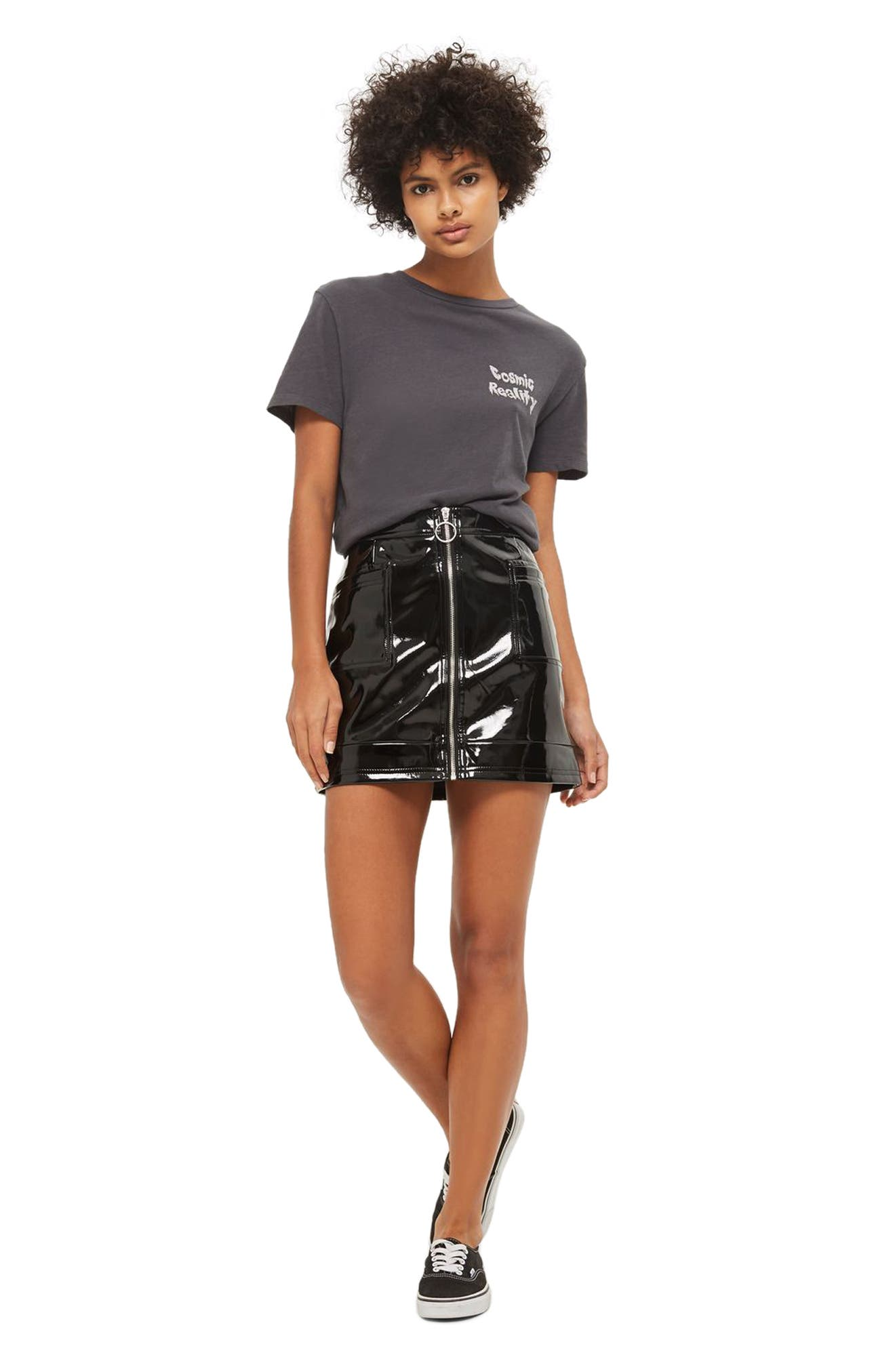 Zip Through Vinyl Miniskirt,                             Alternate thumbnail 2, color,                             Black