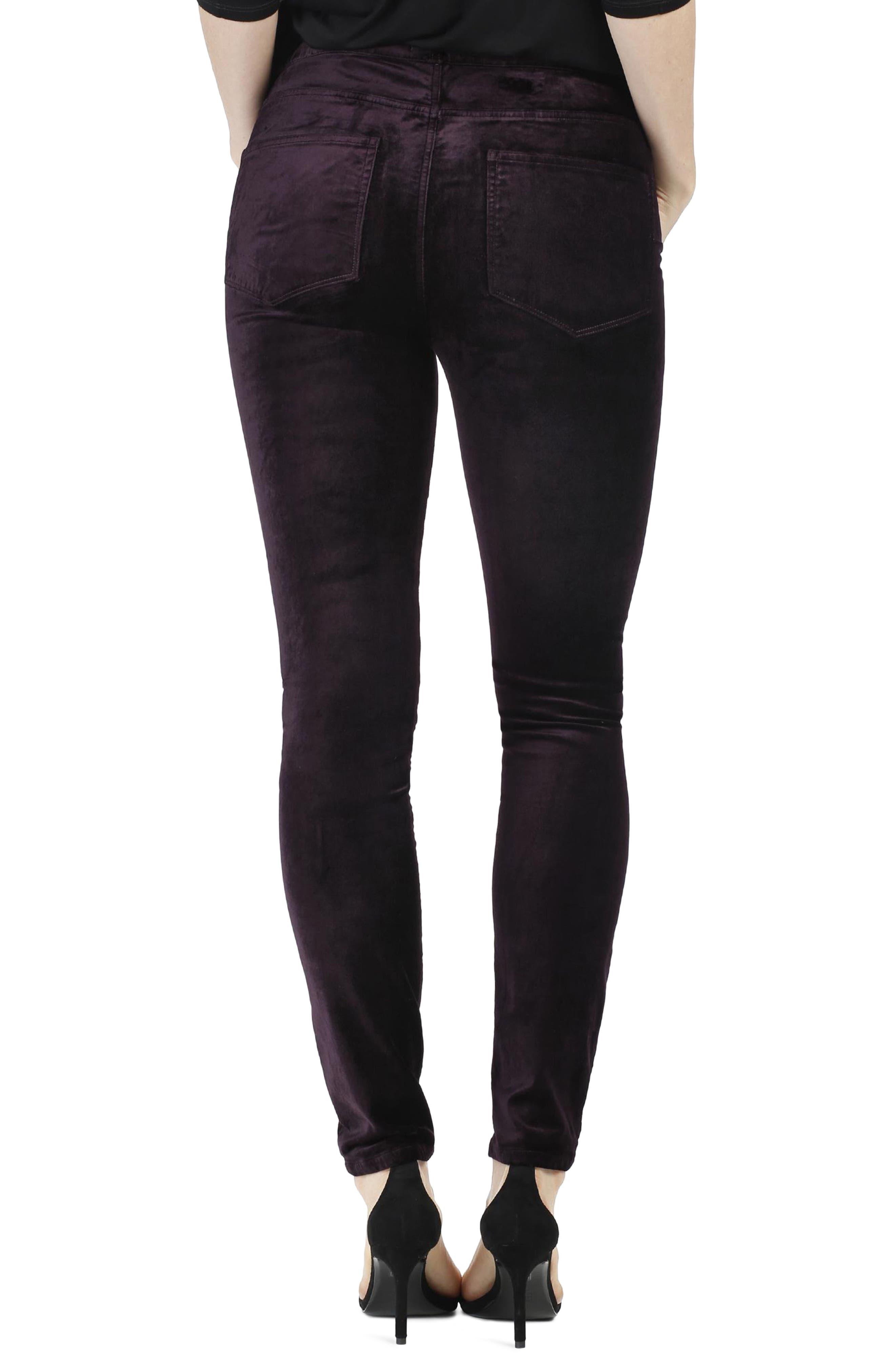 Hoxton Velvet Ankle Skinny Jeans,                             Alternate thumbnail 3, color,                             Black Cherry