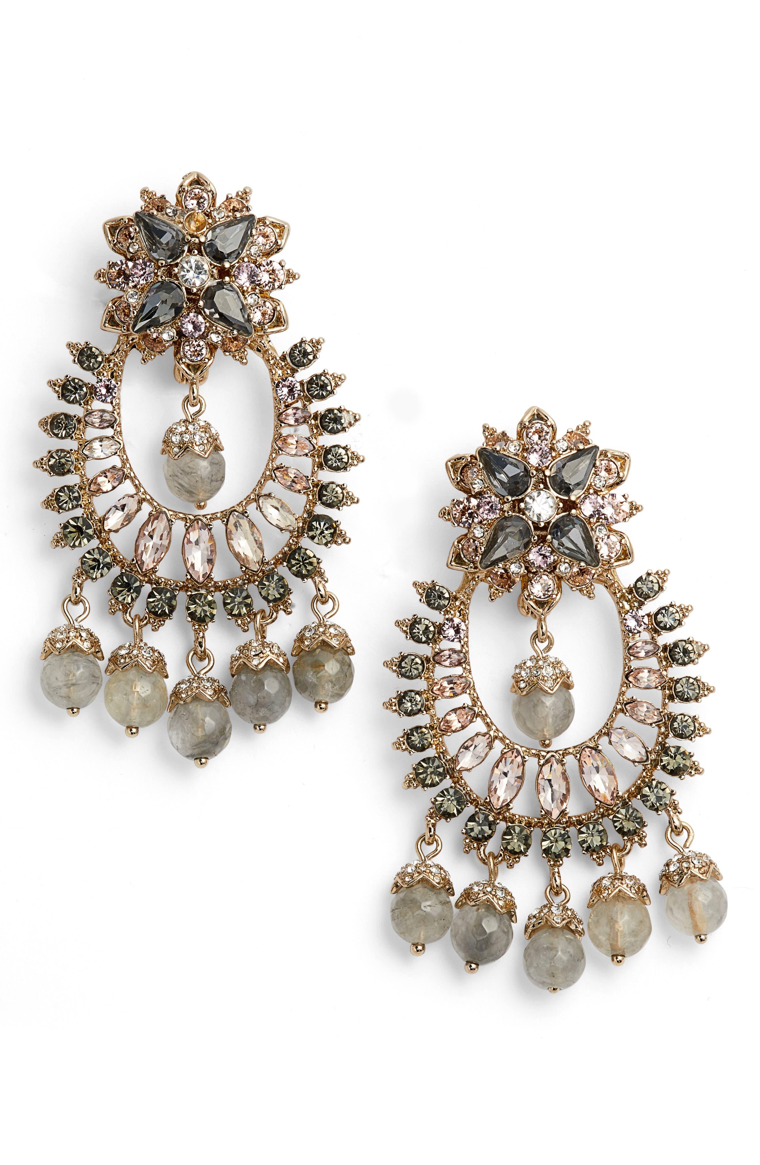 Drama Crystal Earrings,                             Main thumbnail 1, color,                             Gold/ Grey Multi