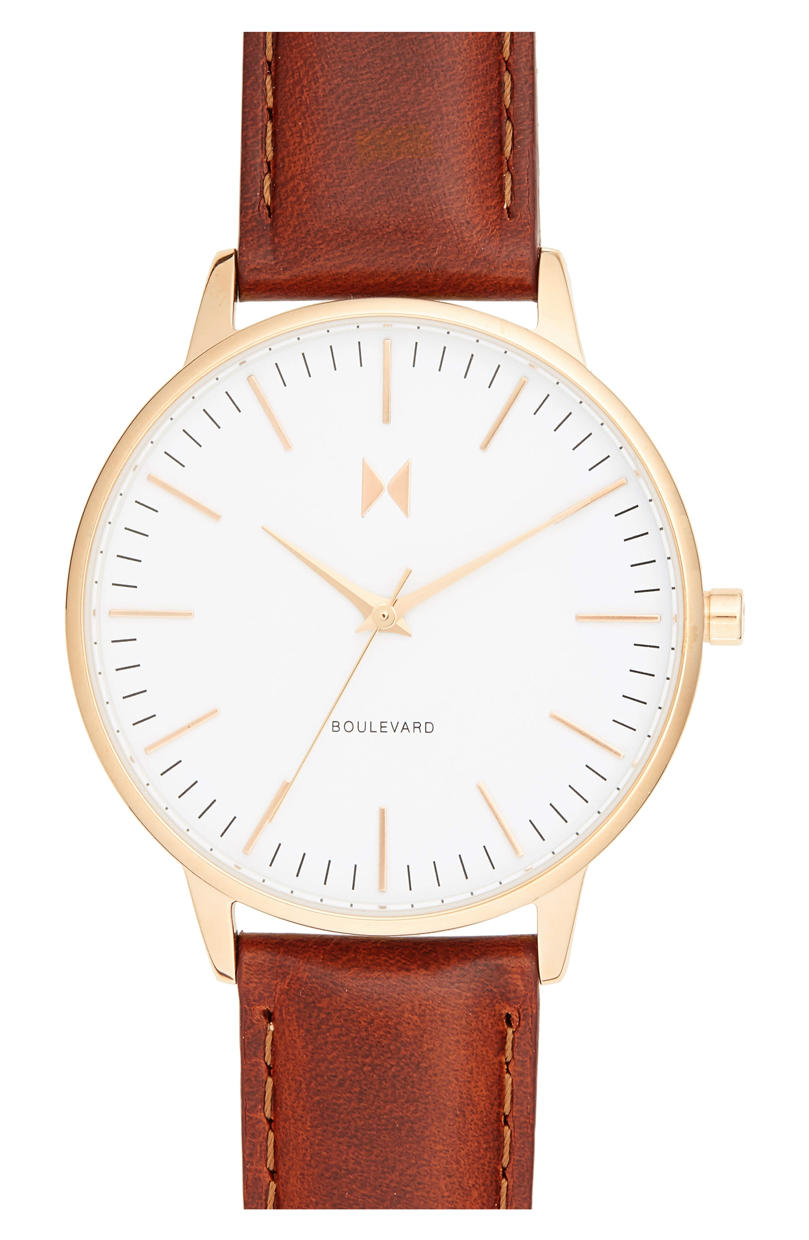 Boulevard Leather Strap Watch, 38mm,                         Main,                         color, Brown/ White/ Gold