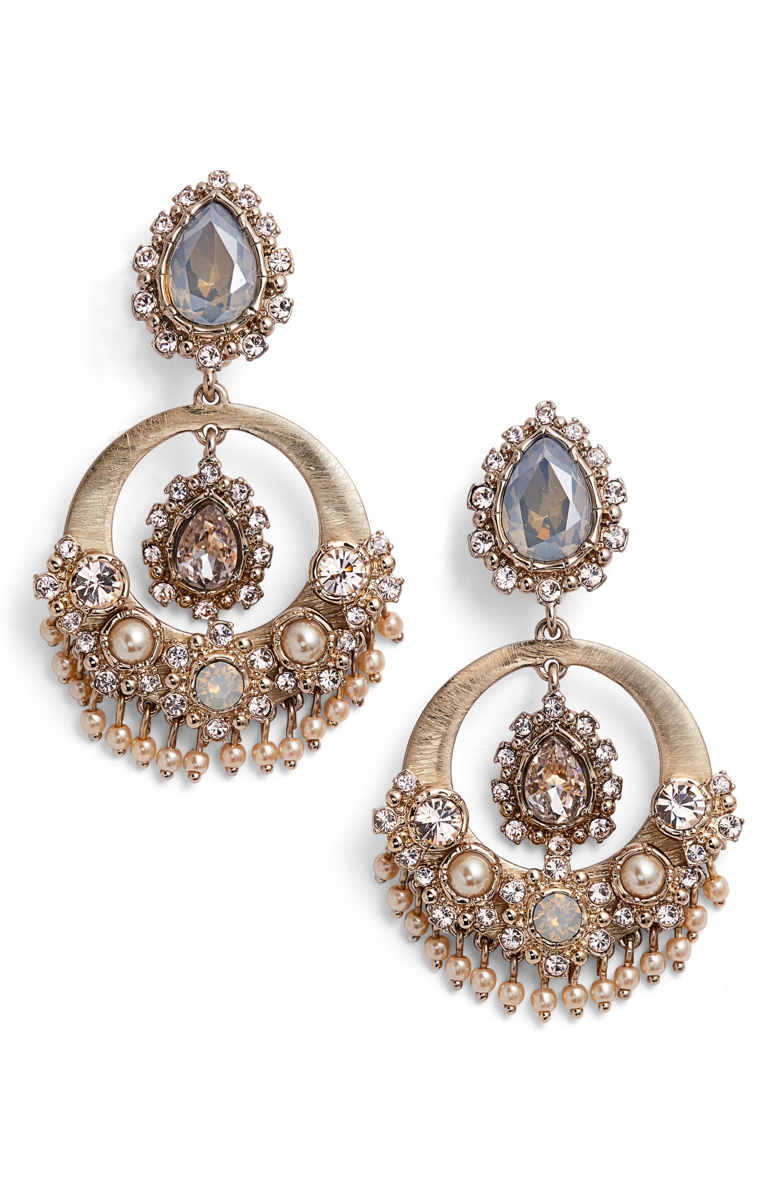 Crystal Drop Earrings,                         Main,                         color, Gold/ Grey Multi