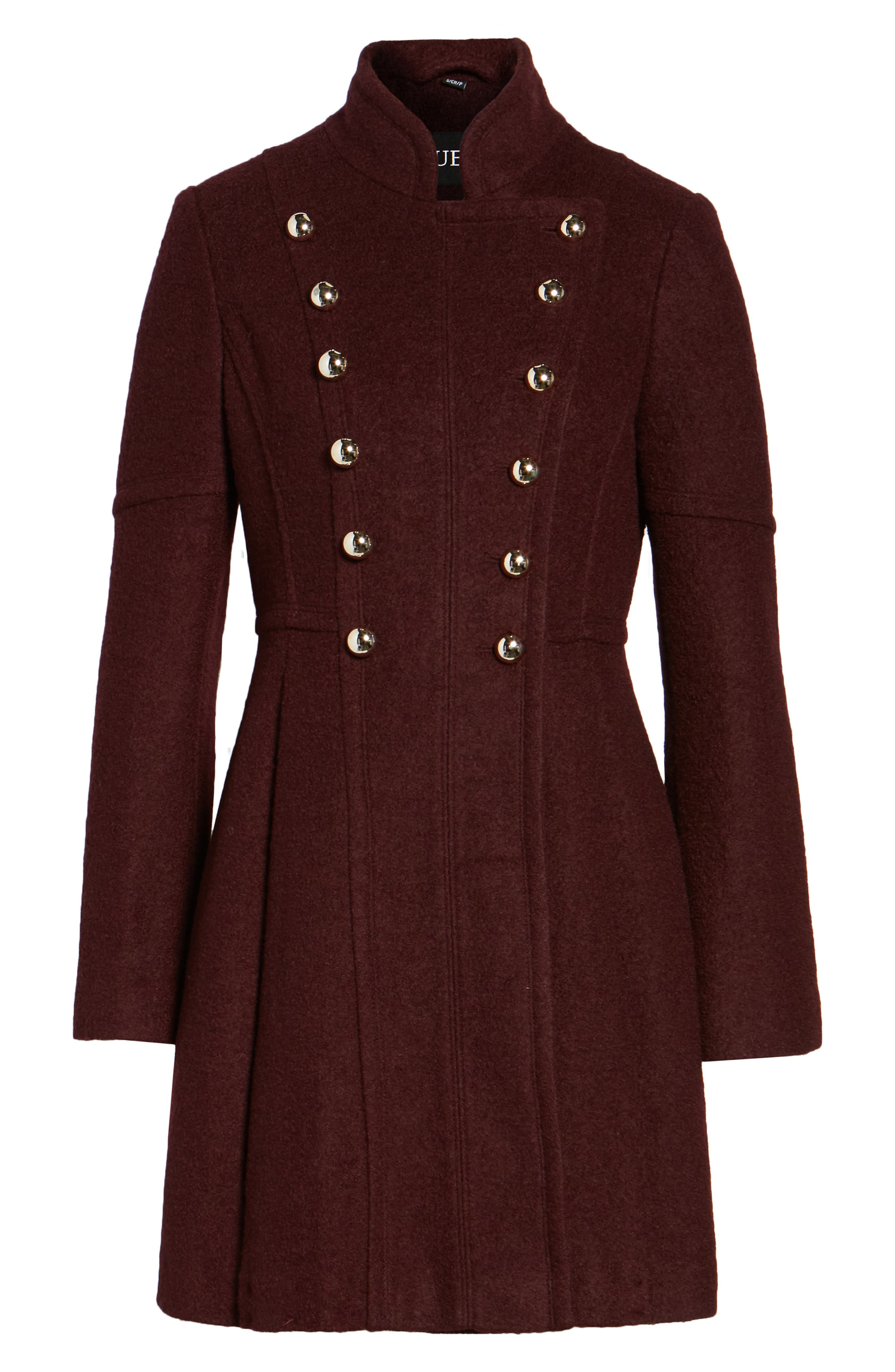 Double Breasted Fit & Flare Coat,                             Main thumbnail 1, color,                             Wine