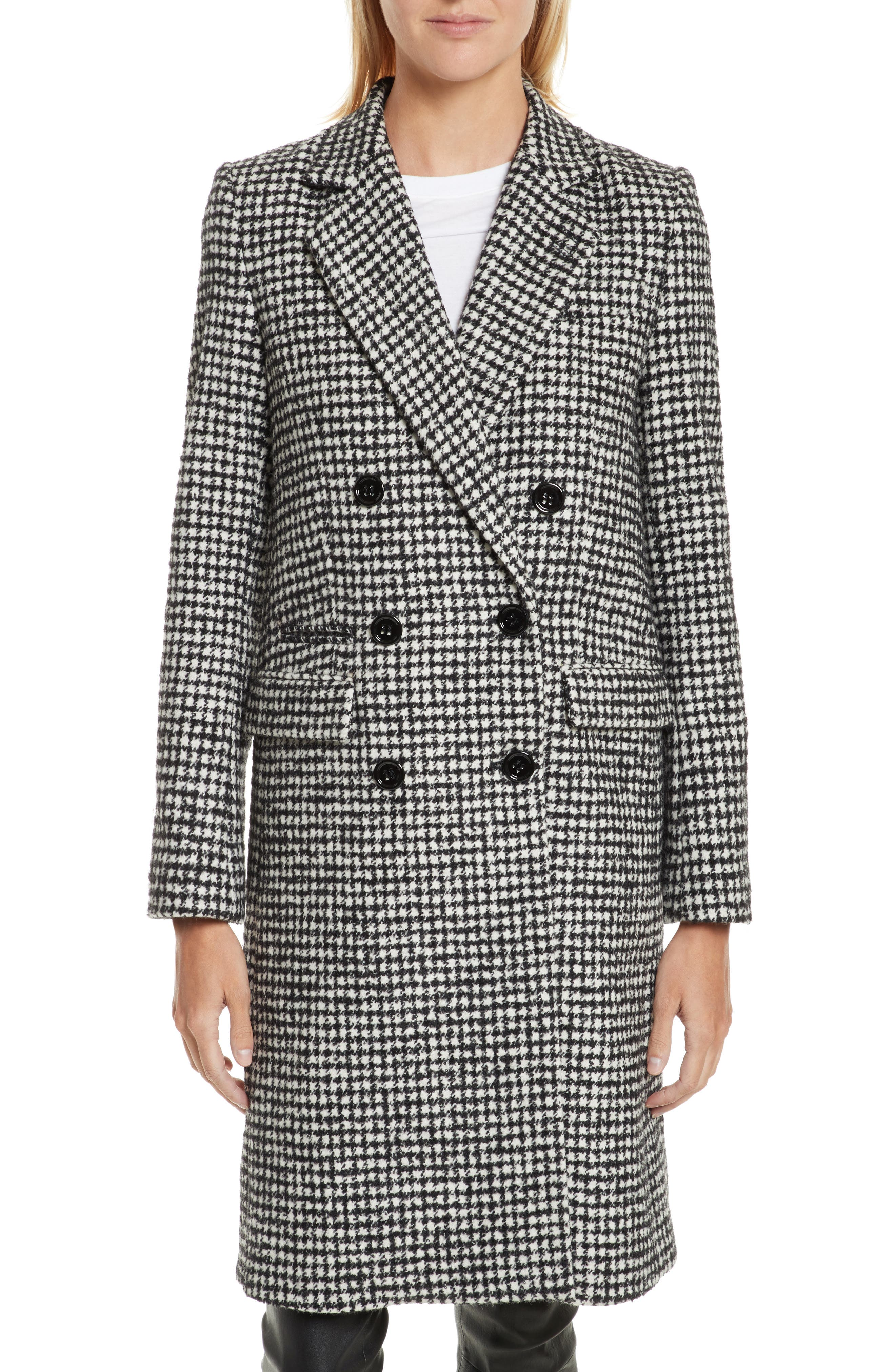 Double-Breasted Wool Blend Coat,                         Main,                         color, Black