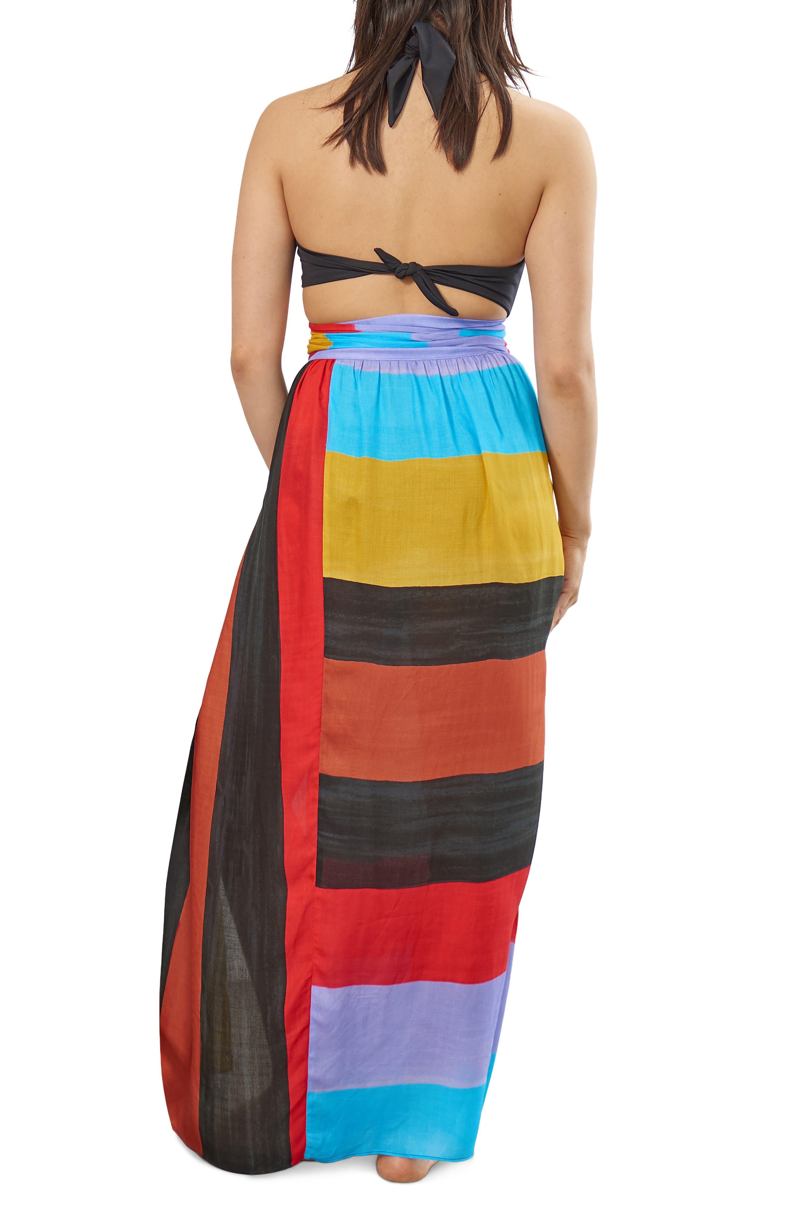 Cora Stripe Cover-Up Skirt,                             Alternate thumbnail 2, color,                             Black Multi