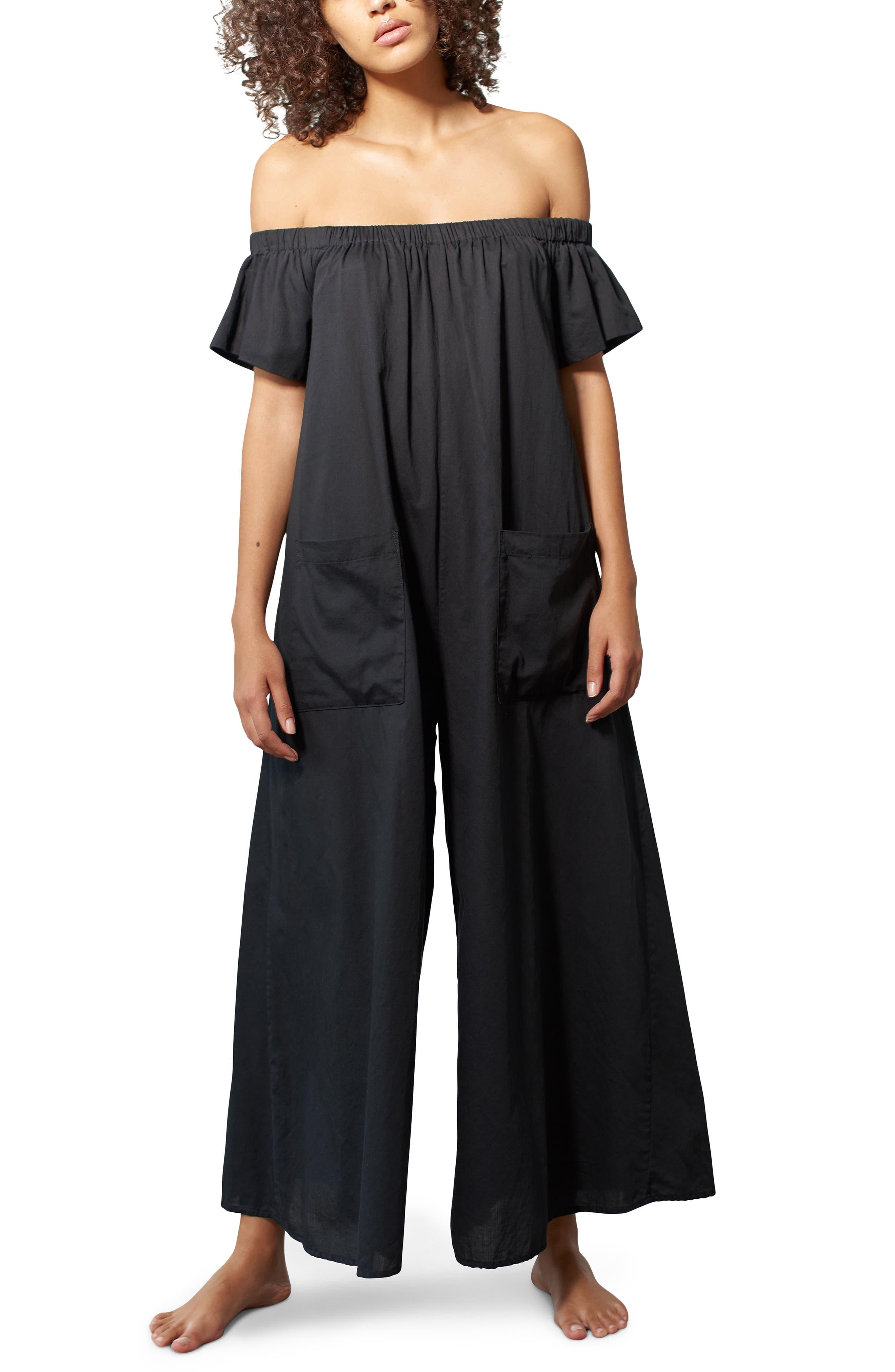 Blanche Off the Shoulder Cover-Up Jumpsuit,                         Main,                         color, Black