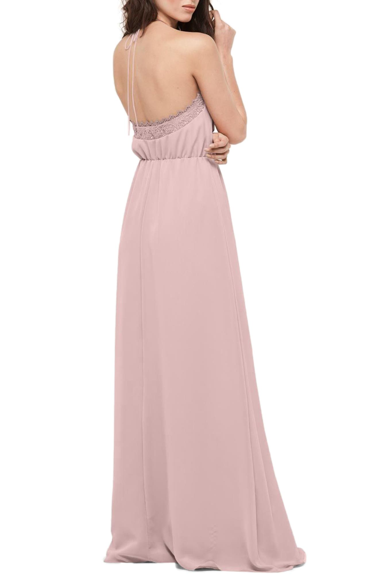 Alternate Image 2  - WTOO Lace Trim Chiffon Halter Gown