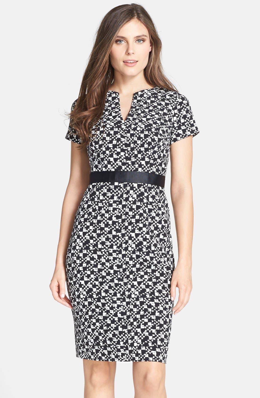 Alternate Image 1 Selected - Adrianna Papell Print Crepe Split Neck Sheath Dress