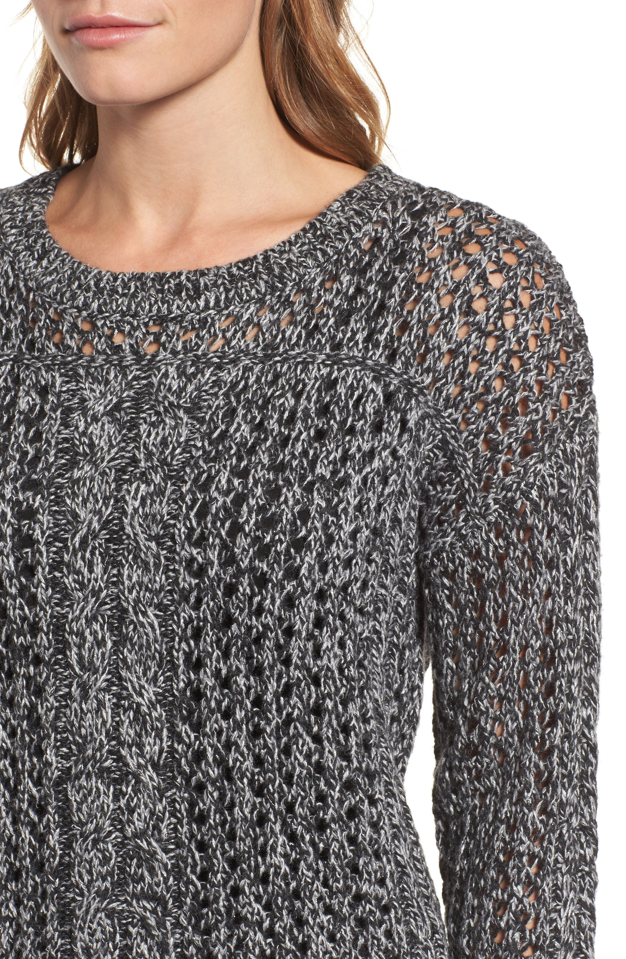Cascade Cable Sparkle Crew Sweater,                             Alternate thumbnail 4, color,                             Charcoal Heather