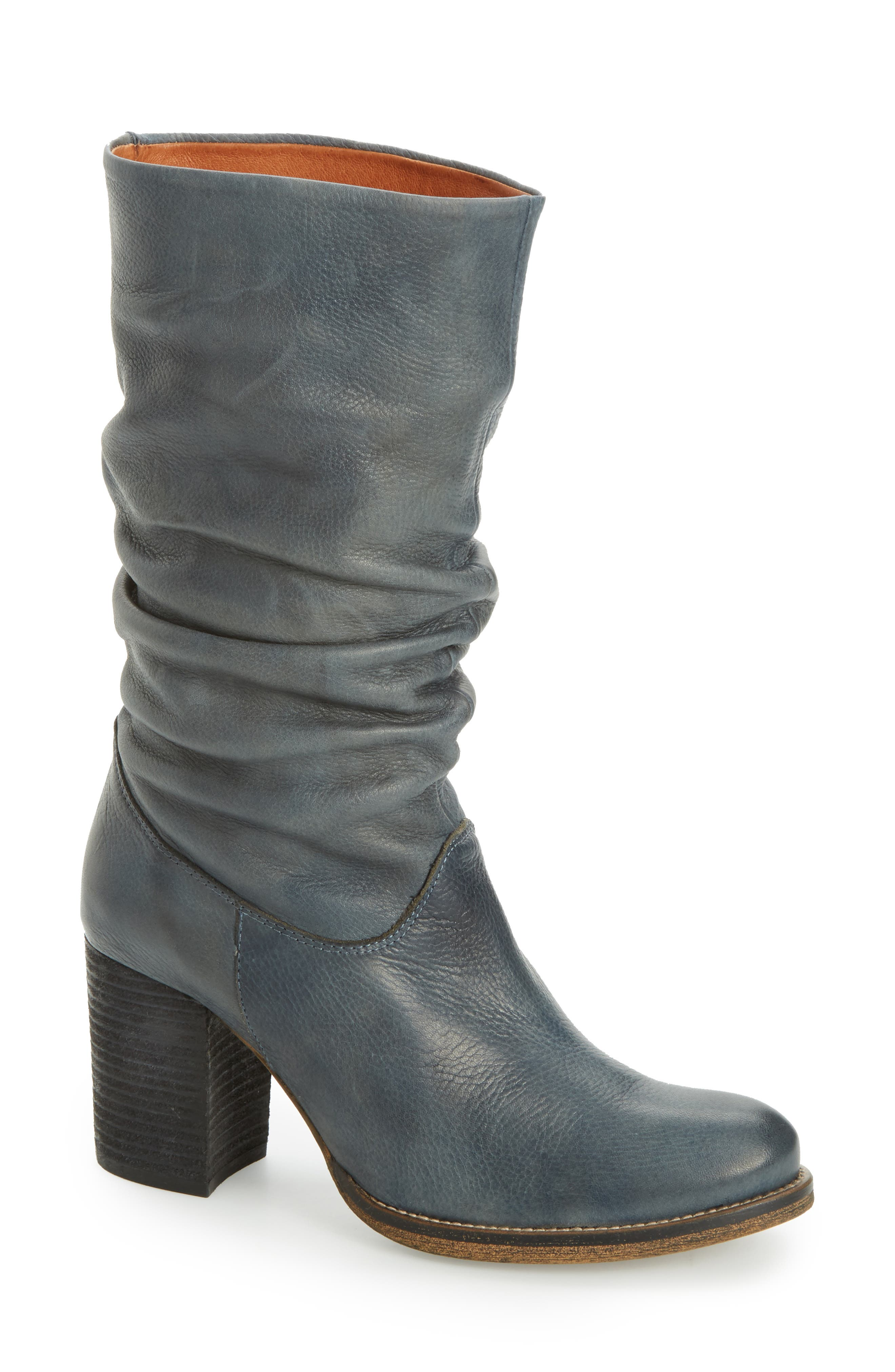 Tell It Block Heel Boot,                         Main,                         color, Blue Leather