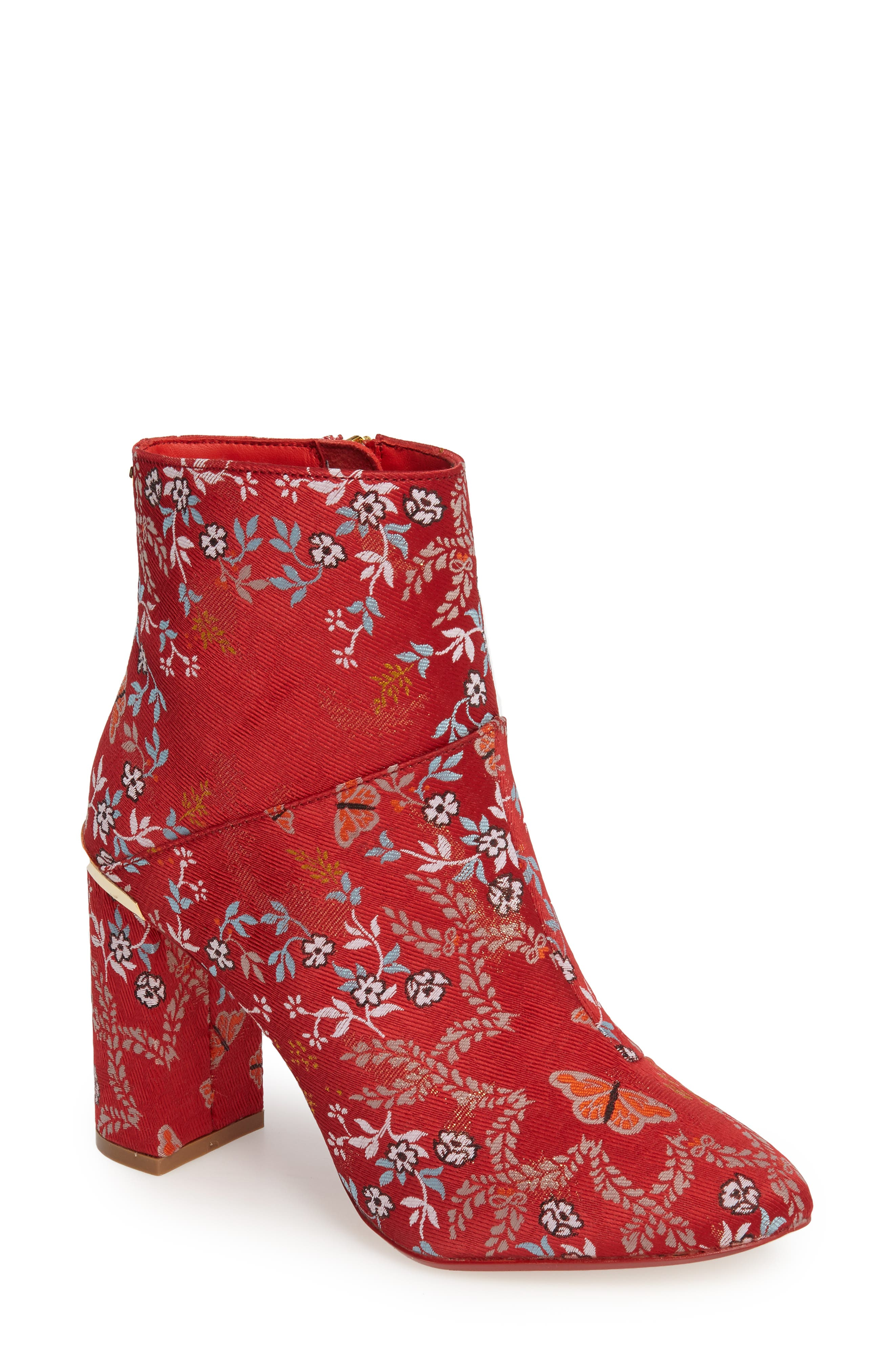 Ishbel Brocade Bootie,                             Main thumbnail 1, color,                             Red Kyoto Print