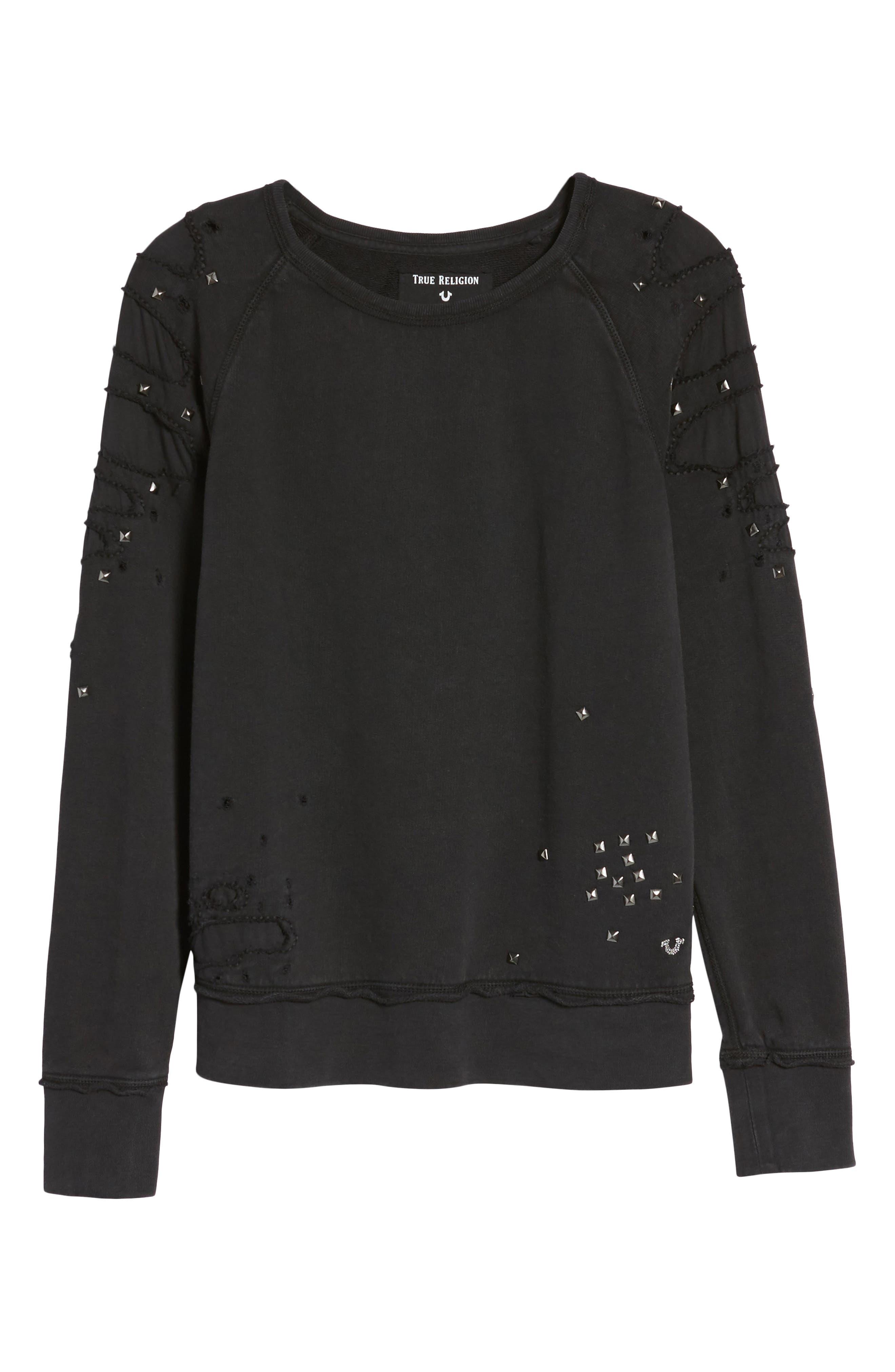 Distressed Boyfriend Sweatshirt,                             Alternate thumbnail 6, color,                             Black