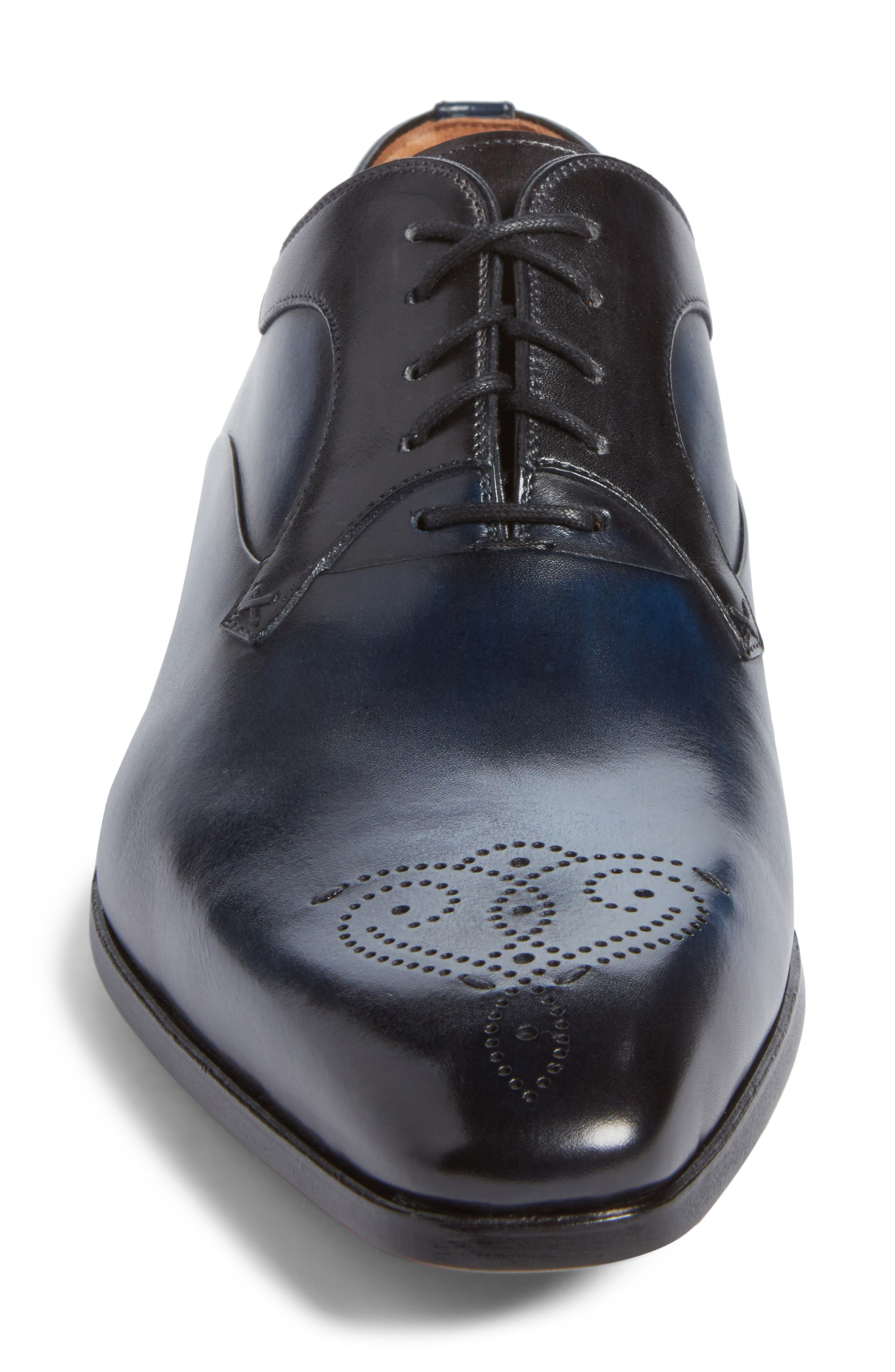 Salva Medallion Toe Oxford,                             Alternate thumbnail 4, color,                             Navy Leather