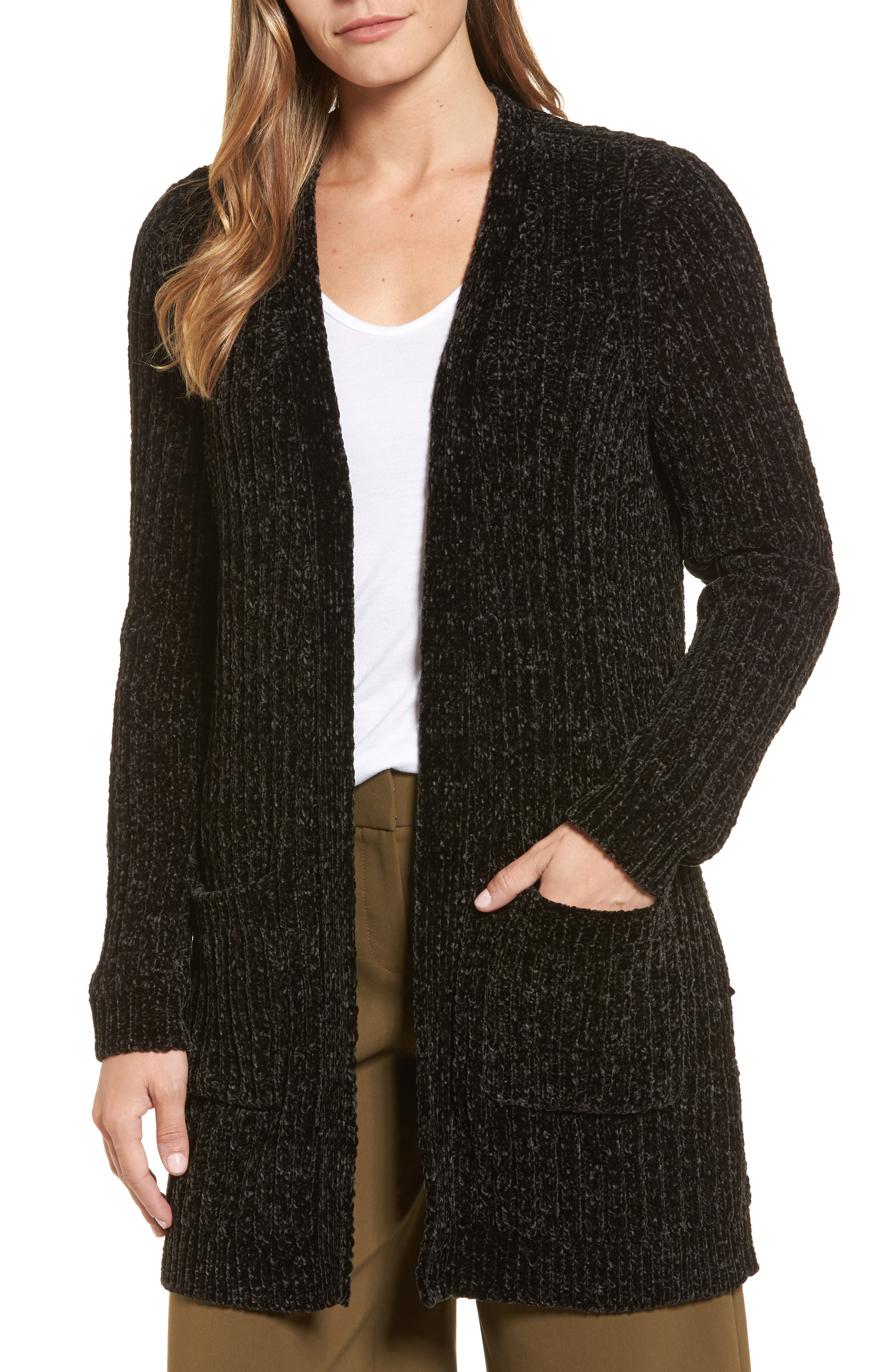 Halogen® Chenille Cardigan (Regular & Petite)