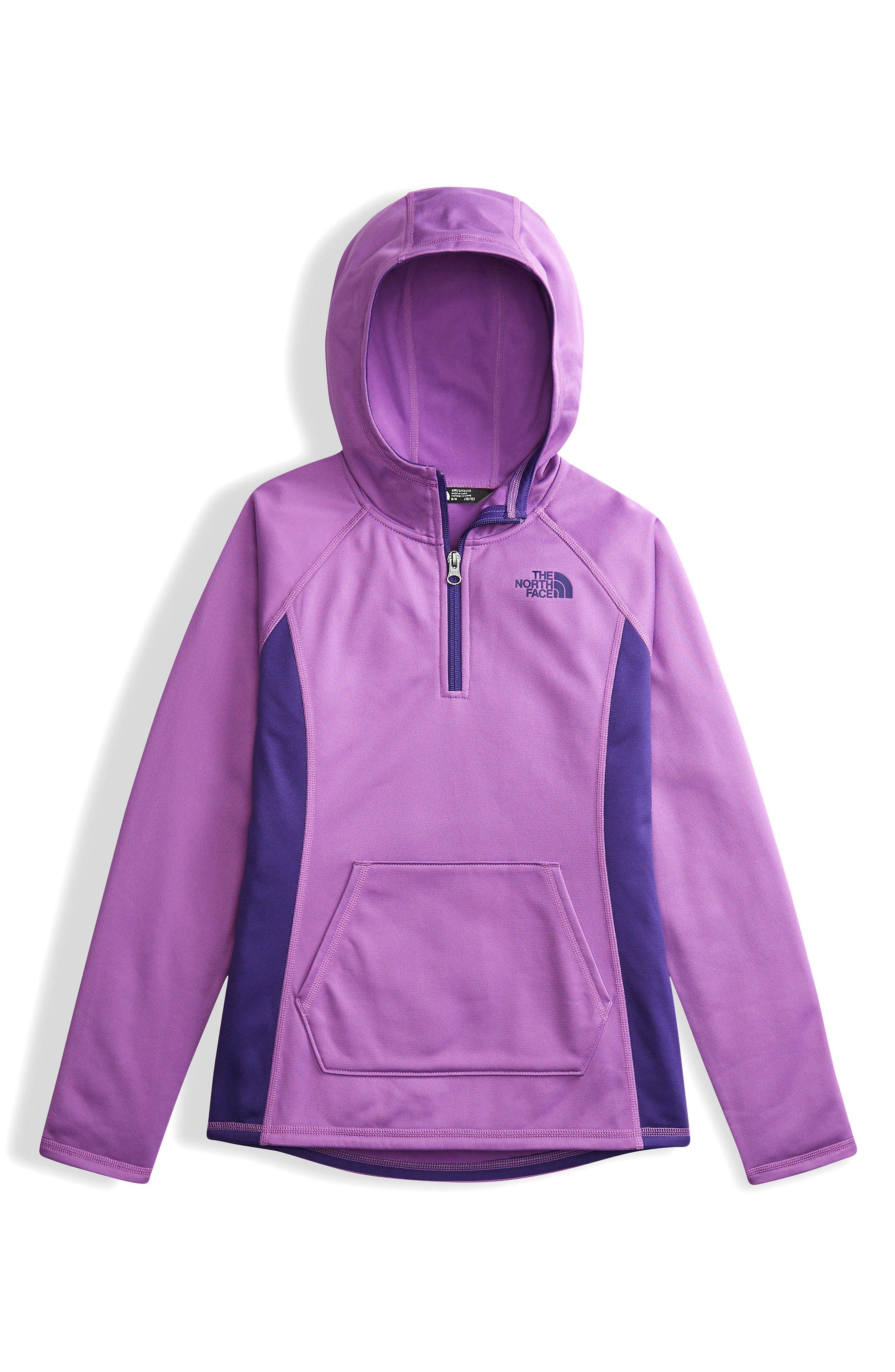 Tech Glacier Quarter Zip Fleece Hoodie,                         Main,                         color, Bellflower Purple
