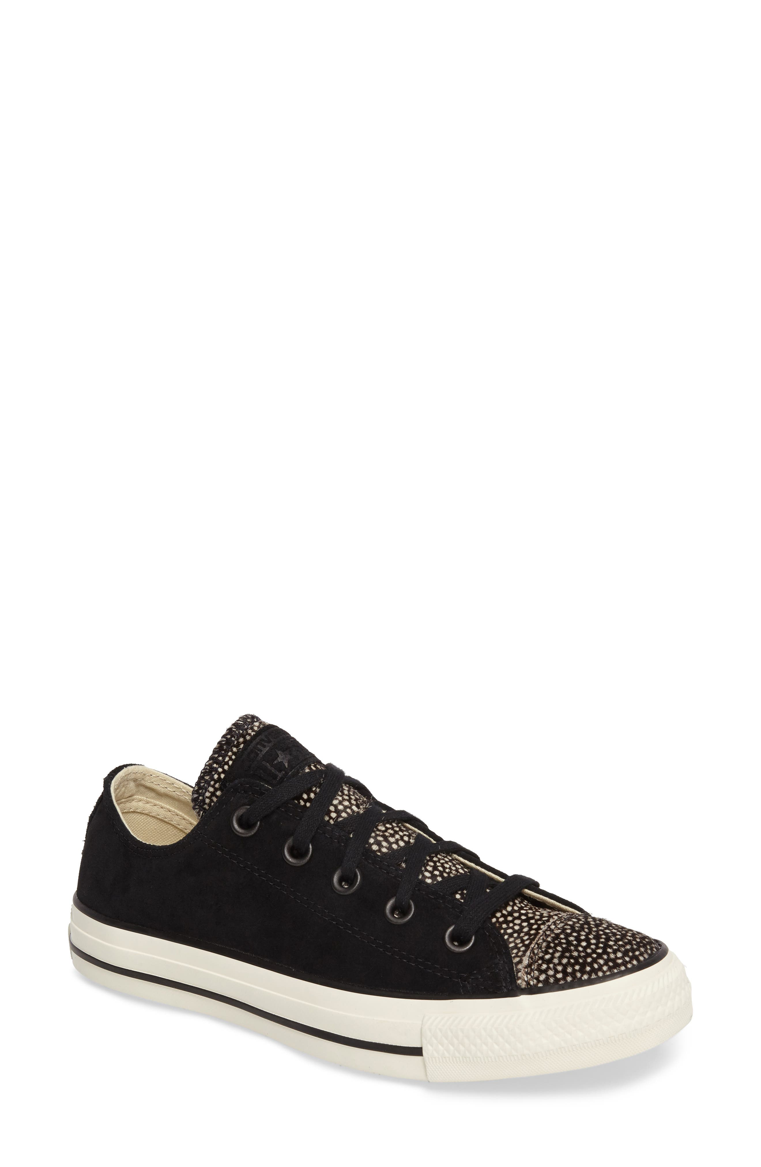 Chuck Taylor<sup>®</sup> All Star<sup>®</sup> Ox Genuine Calf Hair Sneaker,                         Main,                         color, Black